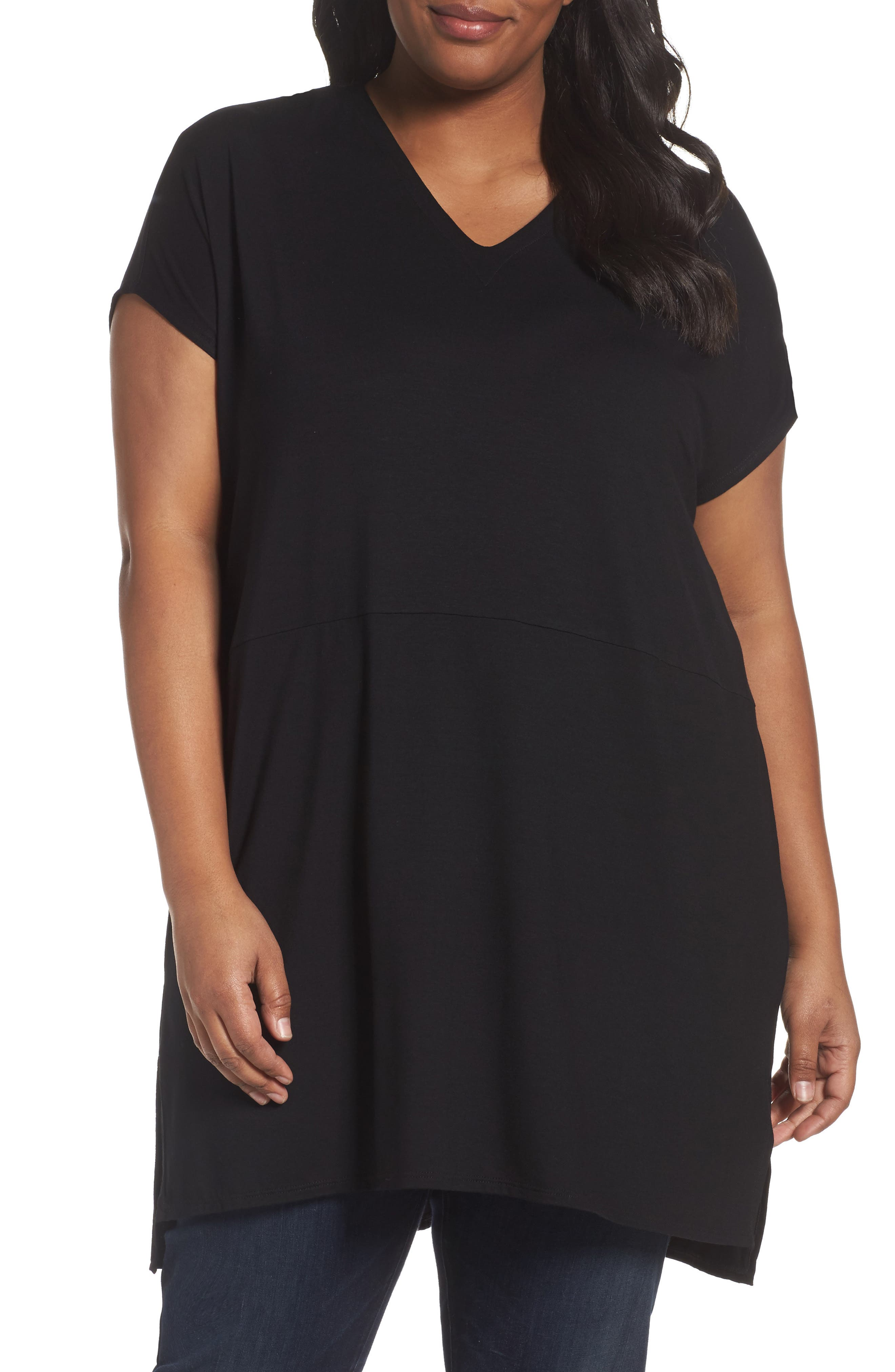 Eileen Fisher Jersey V-Neck Tunic (Plus Size)