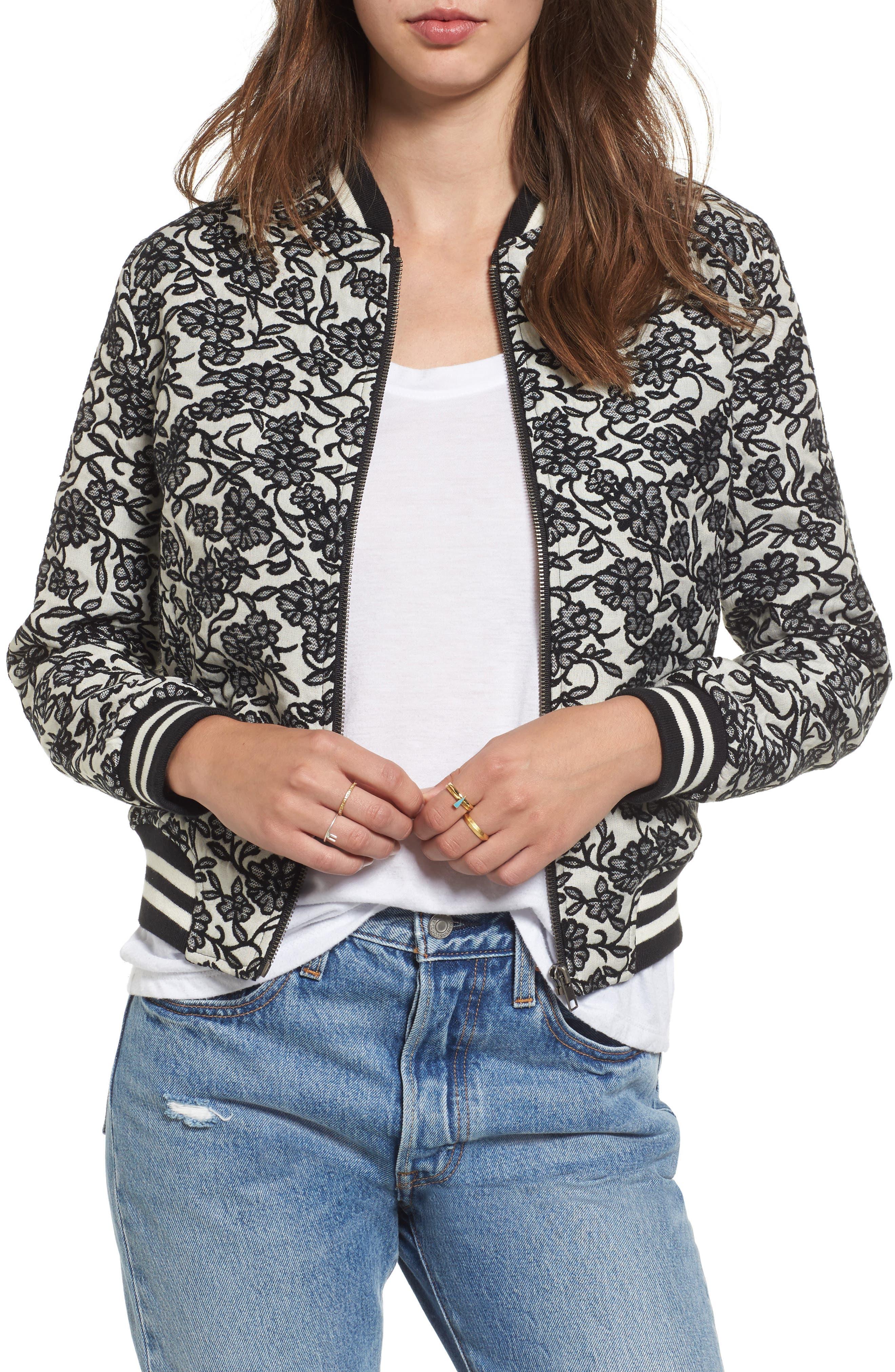 Addie Floral Brocade Bomber Jacket,                         Main,                         color, Black