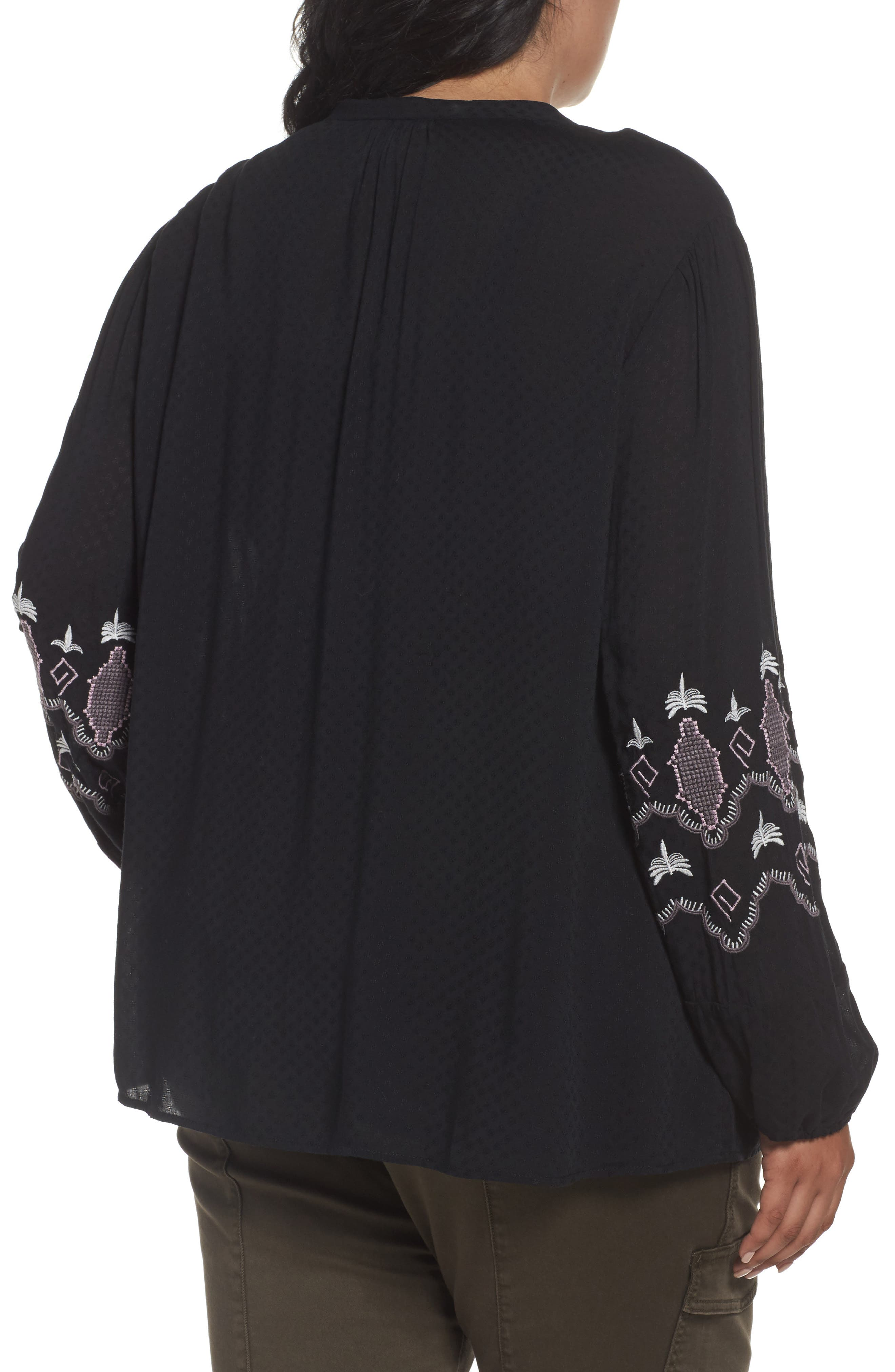 Embroidered Blouse,                             Alternate thumbnail 2, color,                             Black- Purple Embroidery