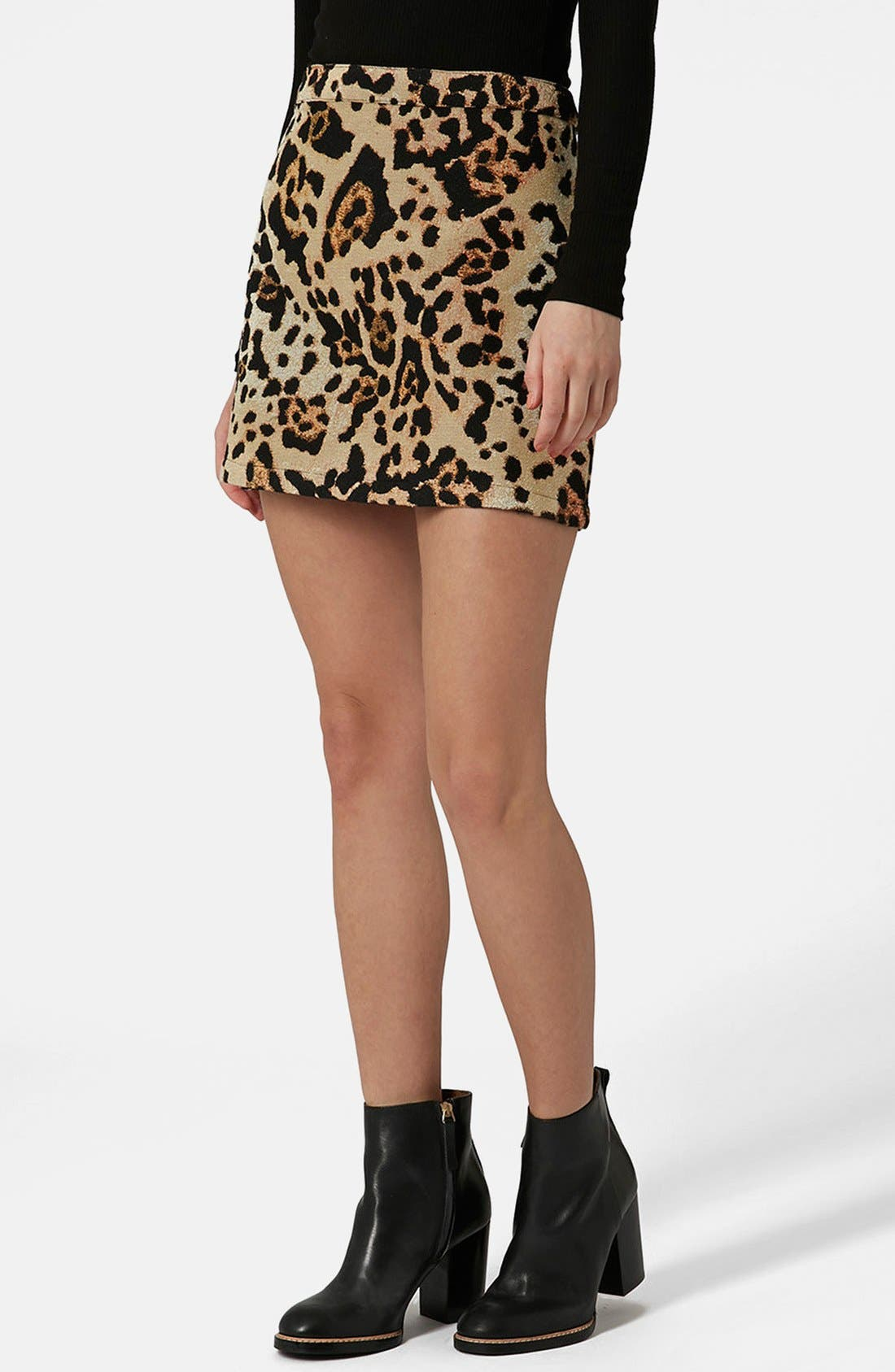 Alternate Image 1 Selected - Topshop Animal Jacquard A-Line Skirt