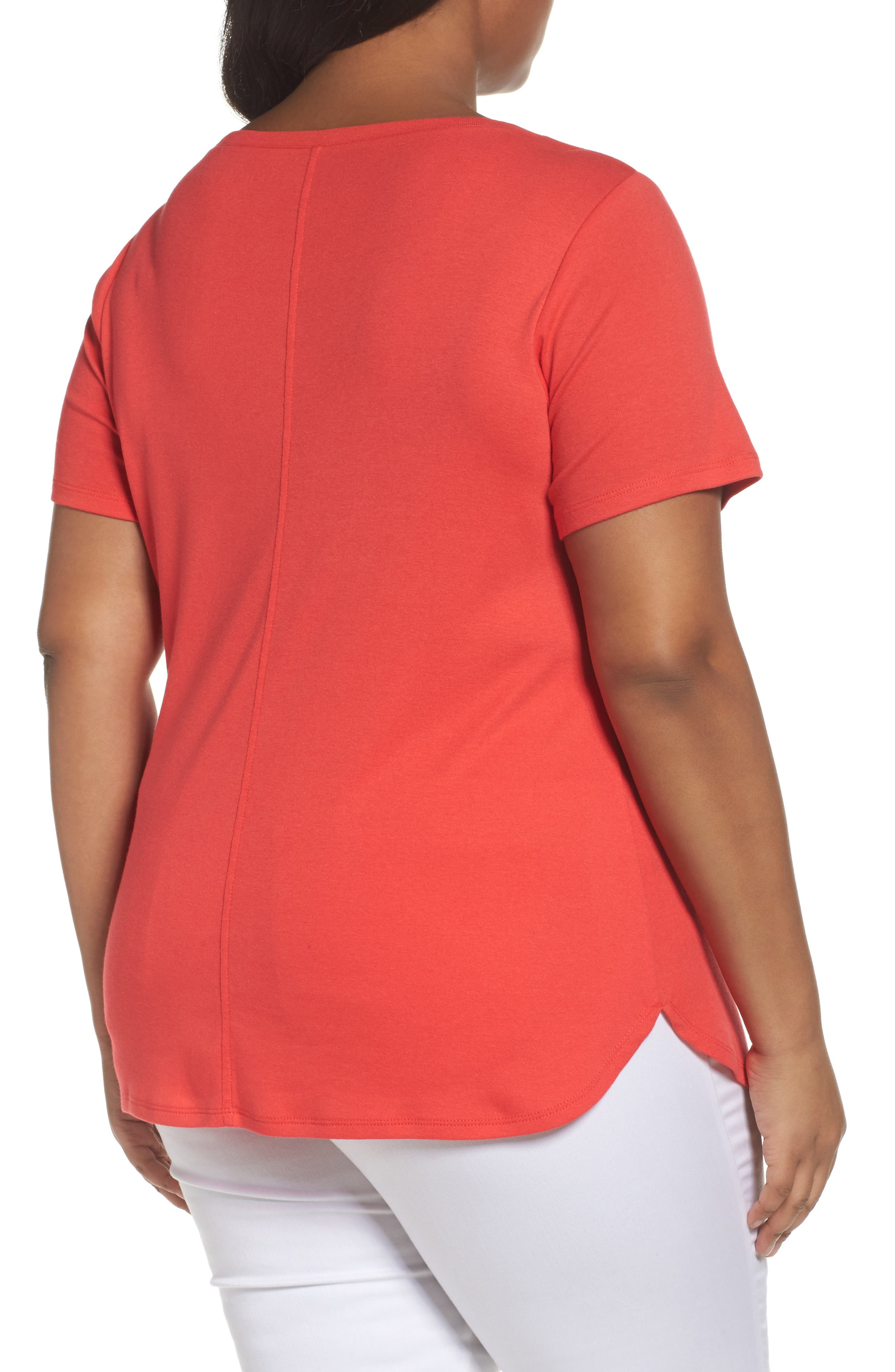 Scoop Neck Tee,                             Alternate thumbnail 2, color,                             Red Hibiscus