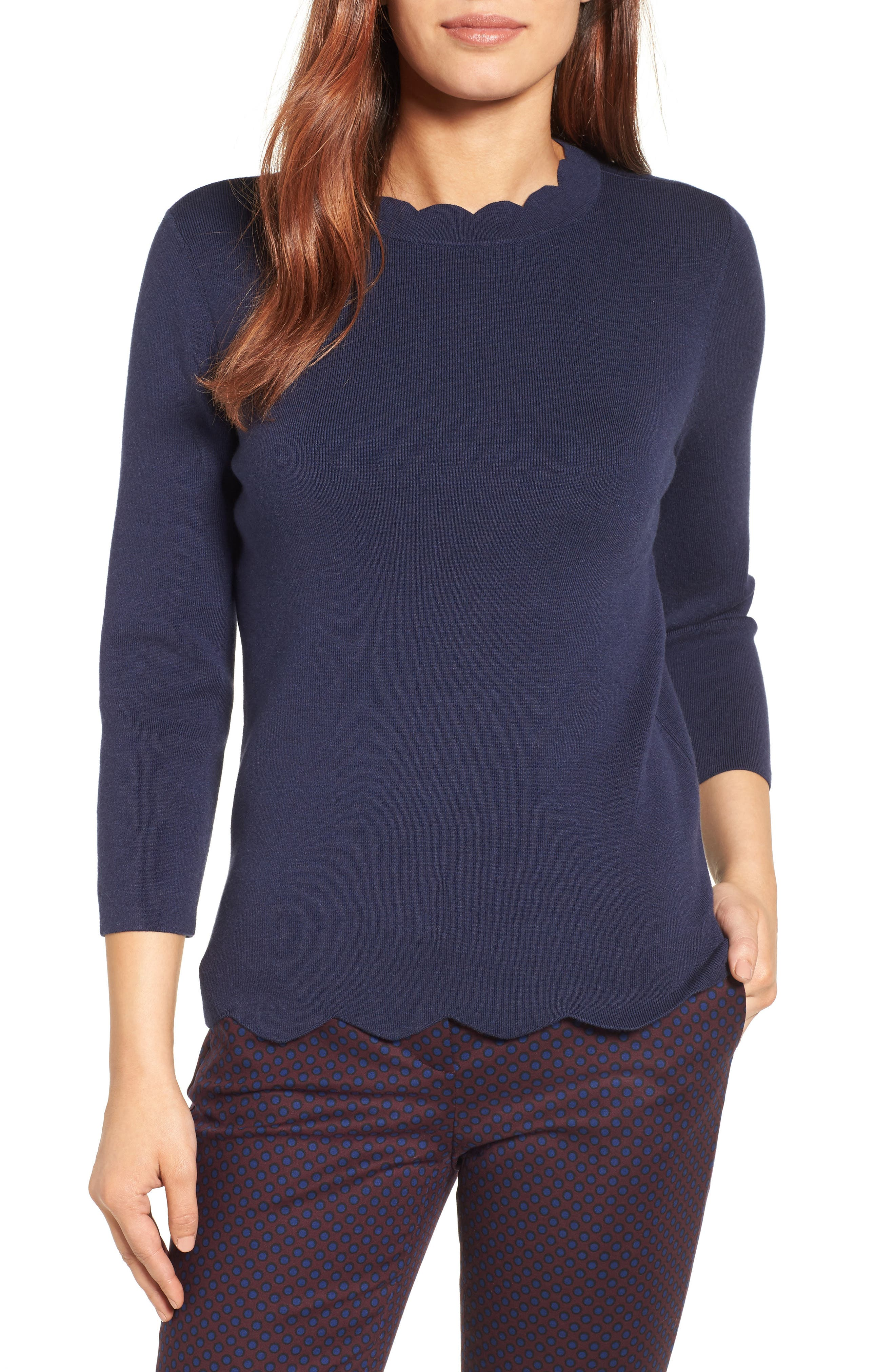 Halogen Scallop Edge Sweater (Regular & Petite)
