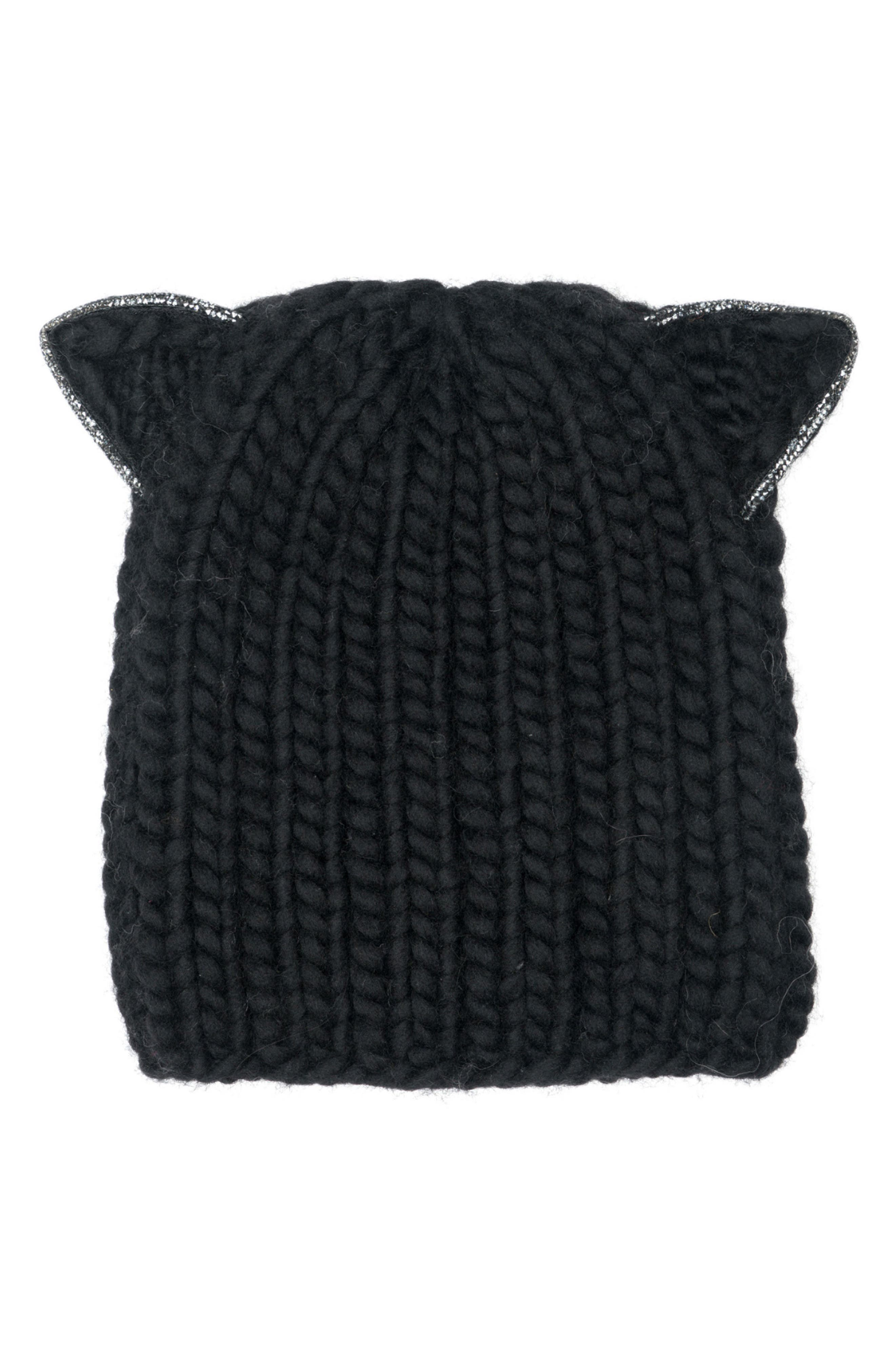 Felix Cat Ears Wool Knit Beanie,                             Main thumbnail 1, color,                             Black