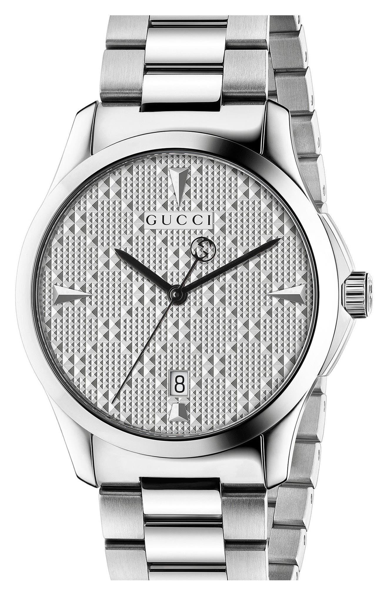 G-Timeless Bracelet Watch, 38mm,                             Main thumbnail 1, color,                             Silver
