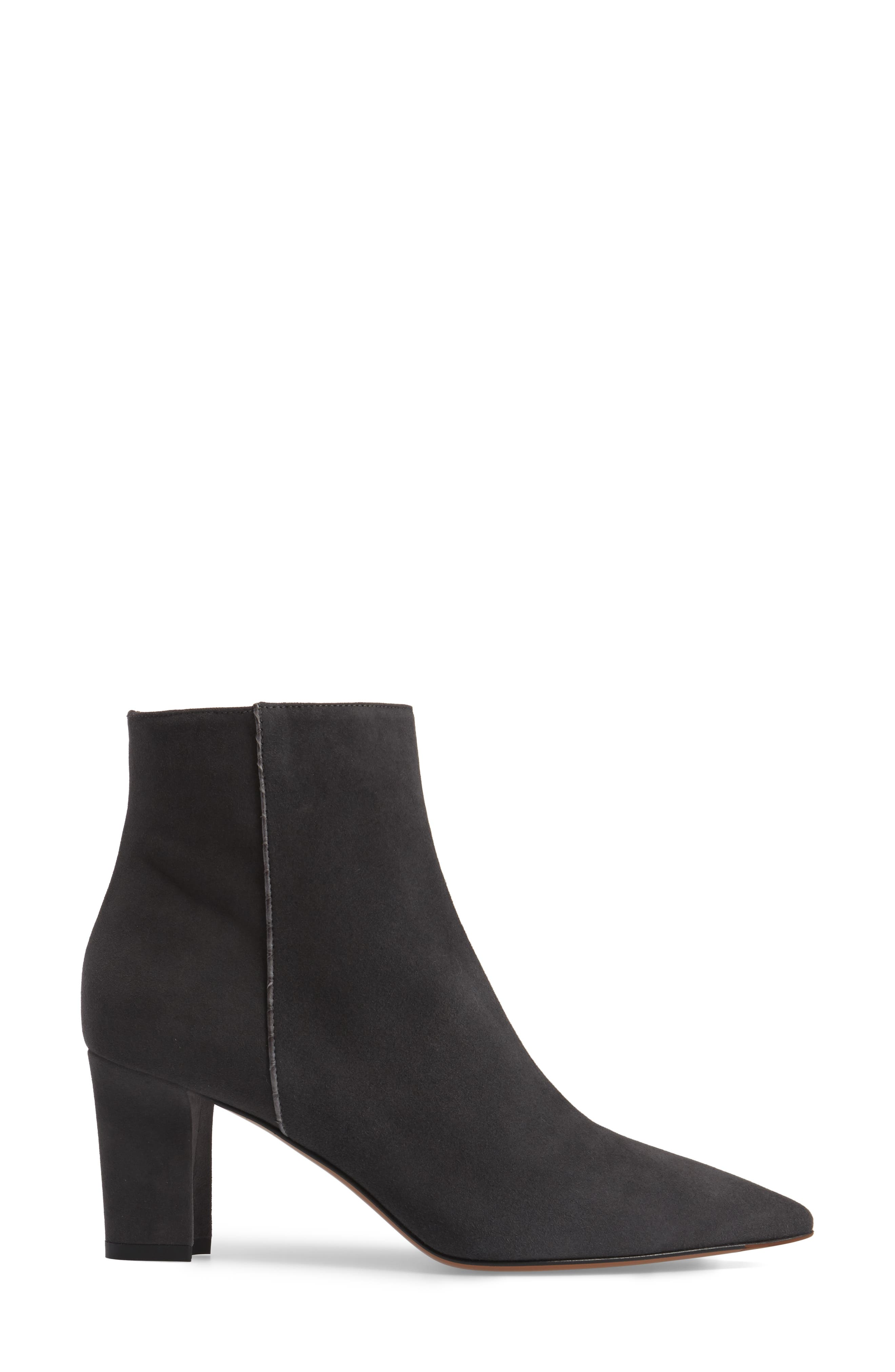 Maia Weatherproof Pointed Toe Bootie,                             Alternate thumbnail 3, color,                             Anthracite Suede