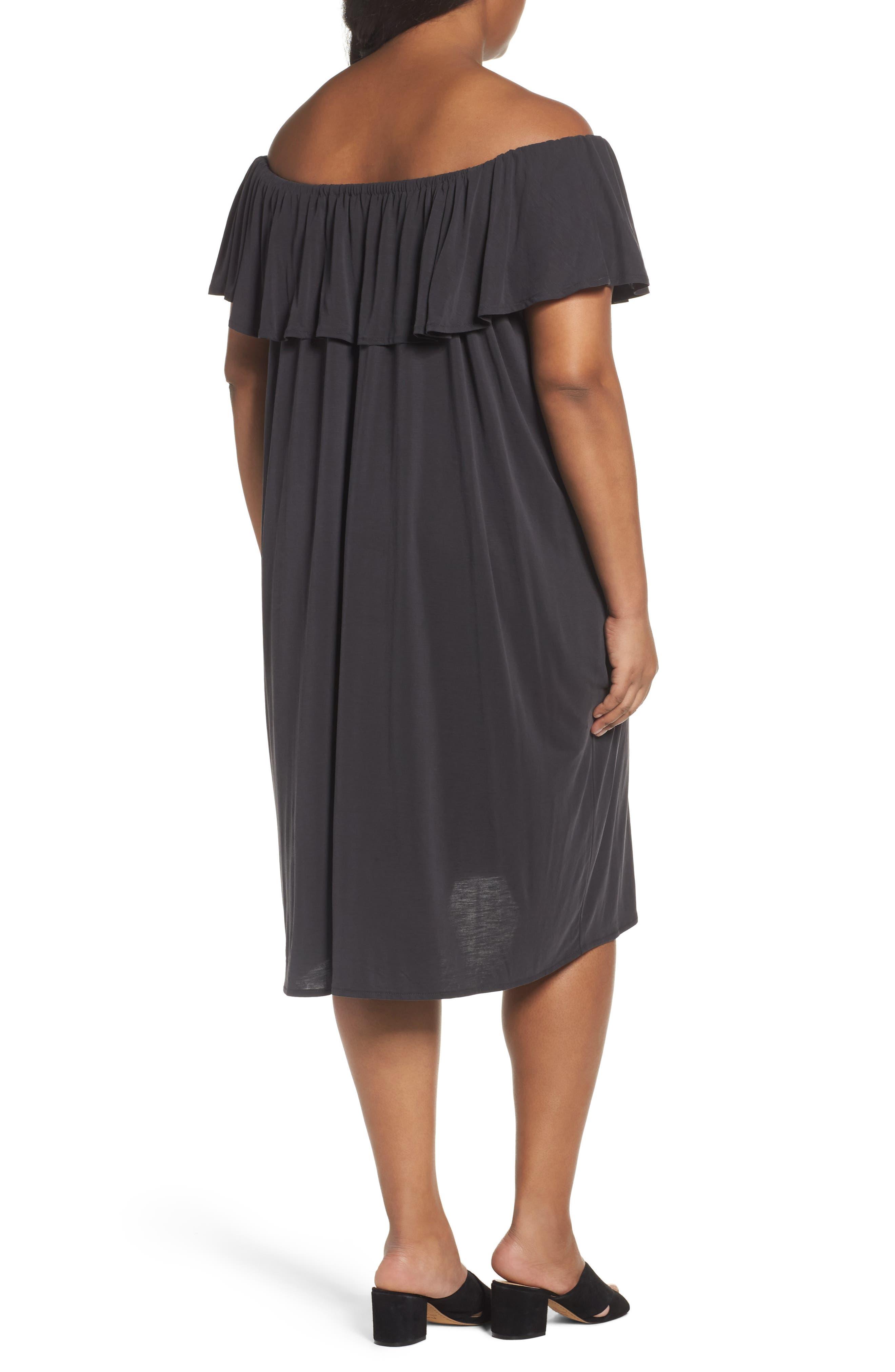 Boardwalk Convertible Jersey Dress,                             Alternate thumbnail 2, color,                             Washed Black