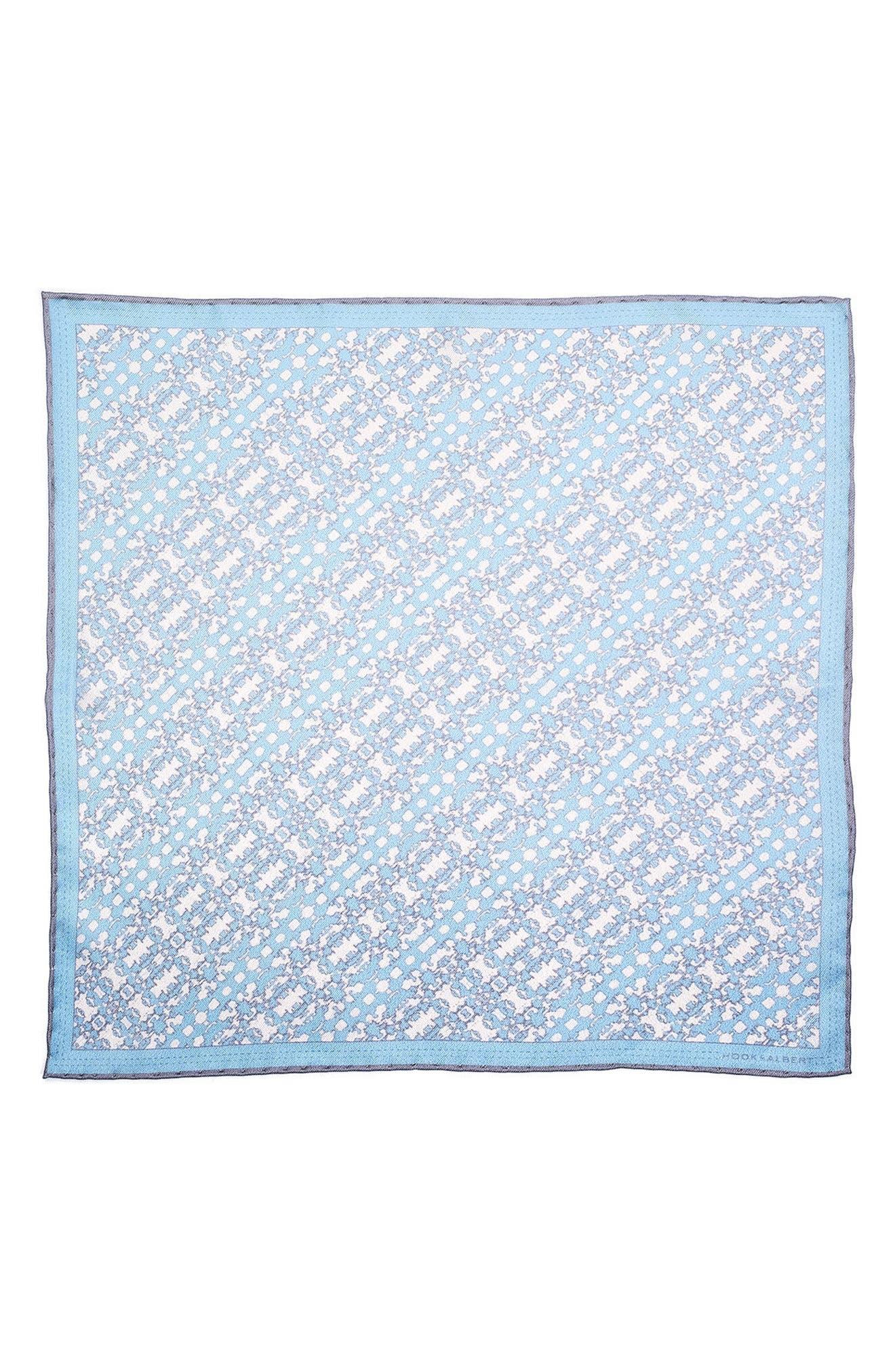 Batik Patterned Silk Pocket Square,                             Alternate thumbnail 2, color,                             Blue