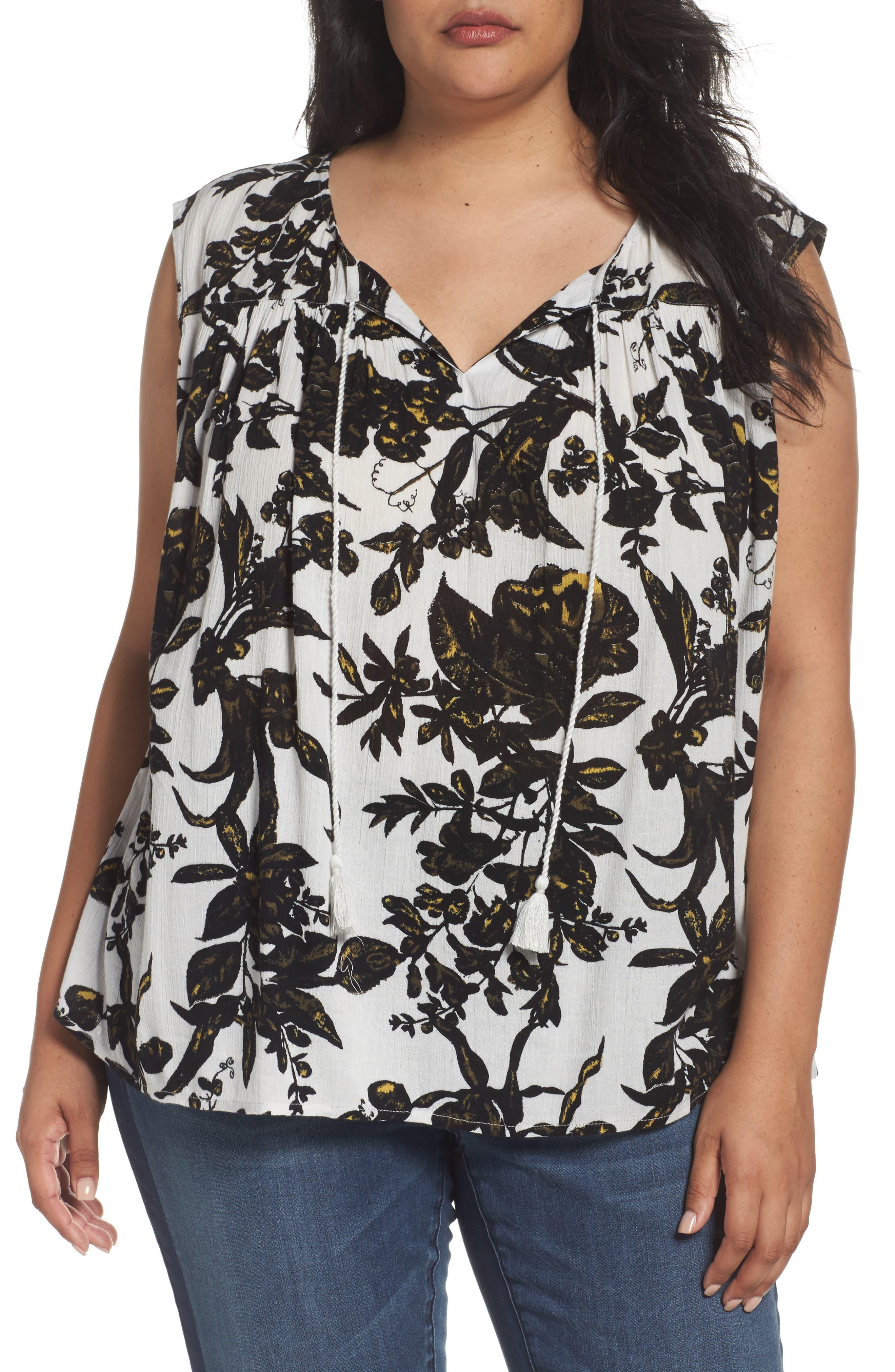 Print Sleeveless Top,                         Main,                         color, Grey- Black Floral