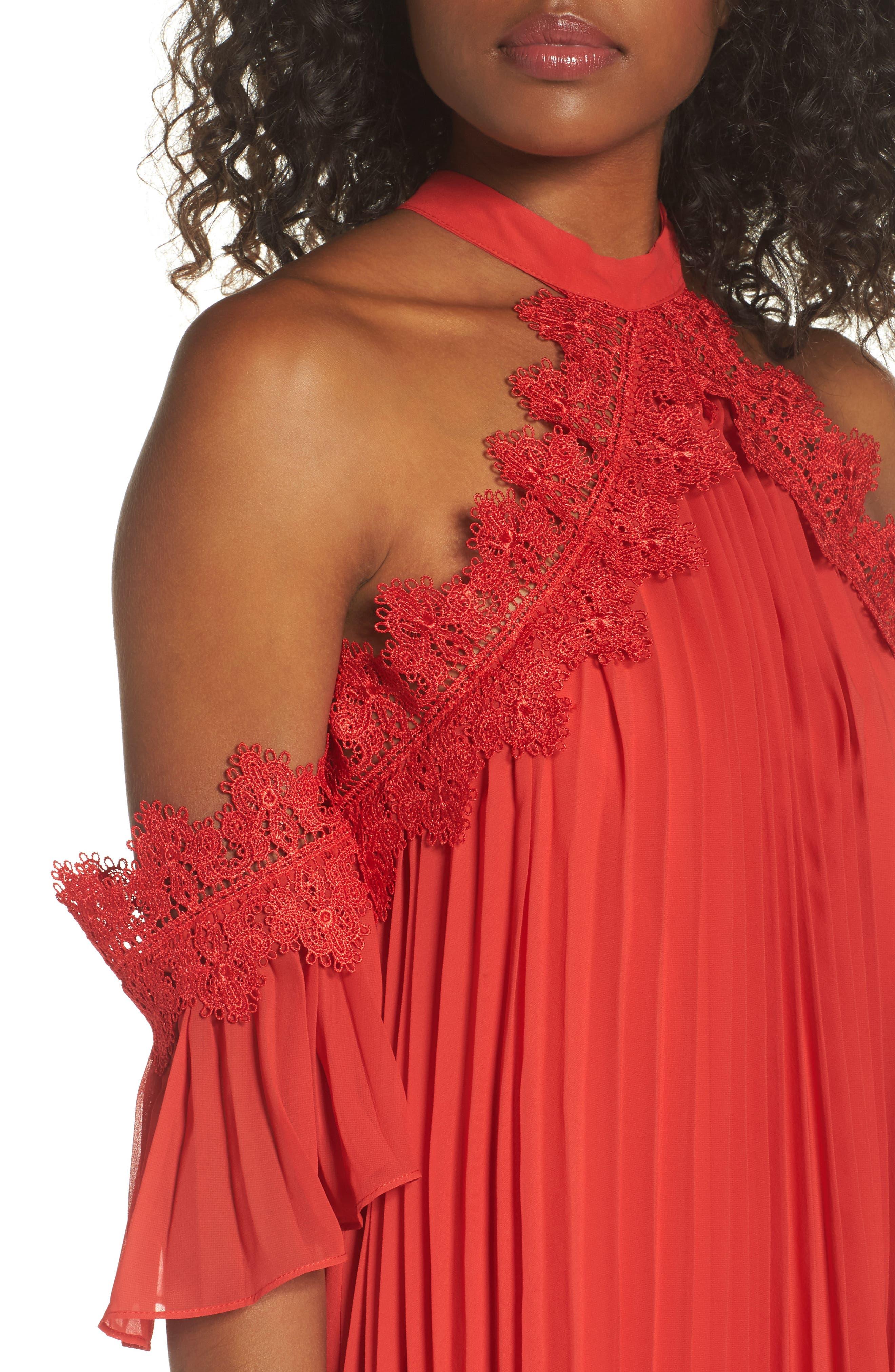 Lace Trim Pleated Midi Dress,                             Alternate thumbnail 4, color,                             Red