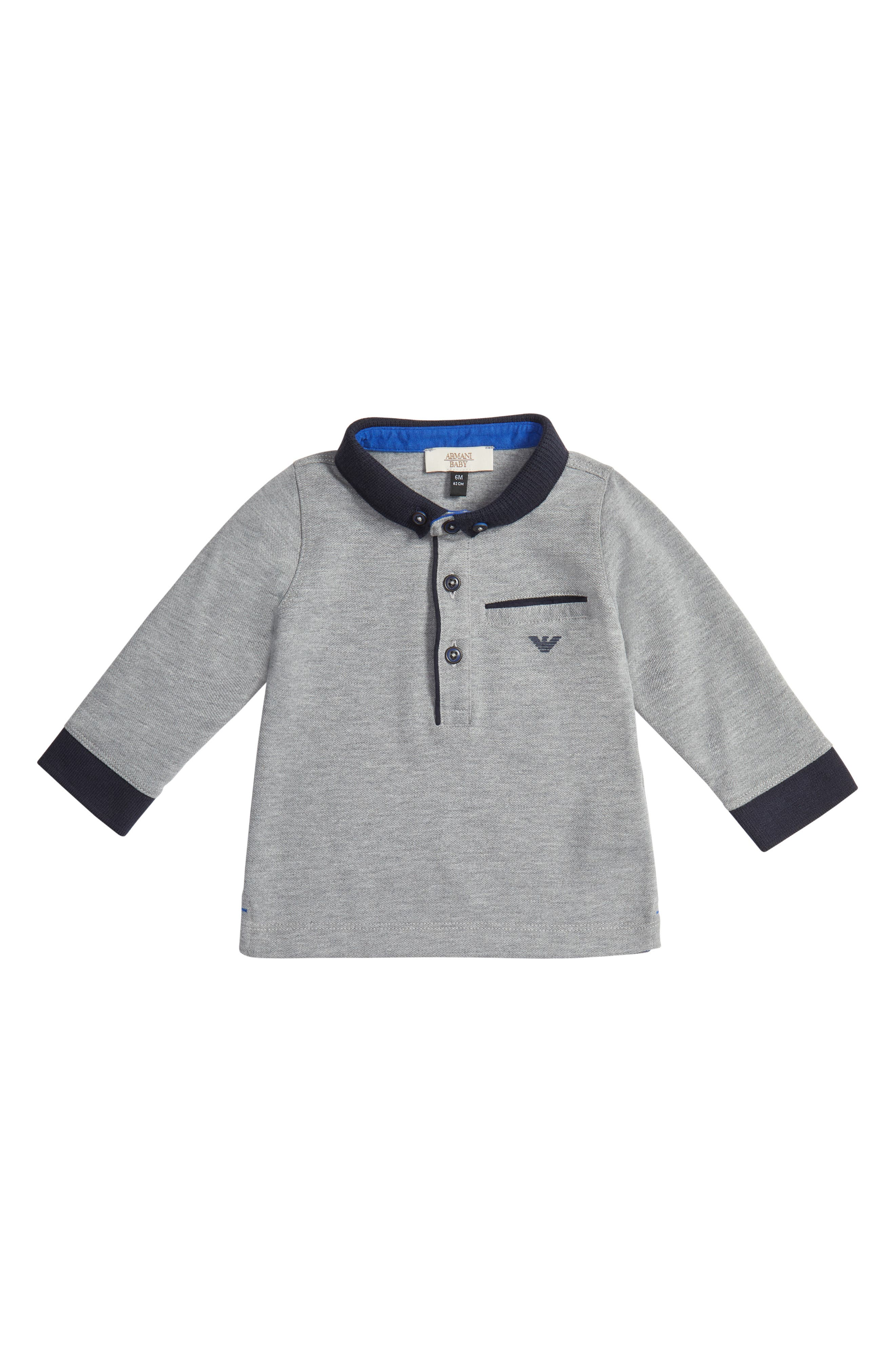 Long Sleeve Polo,                         Main,                         color, Grey