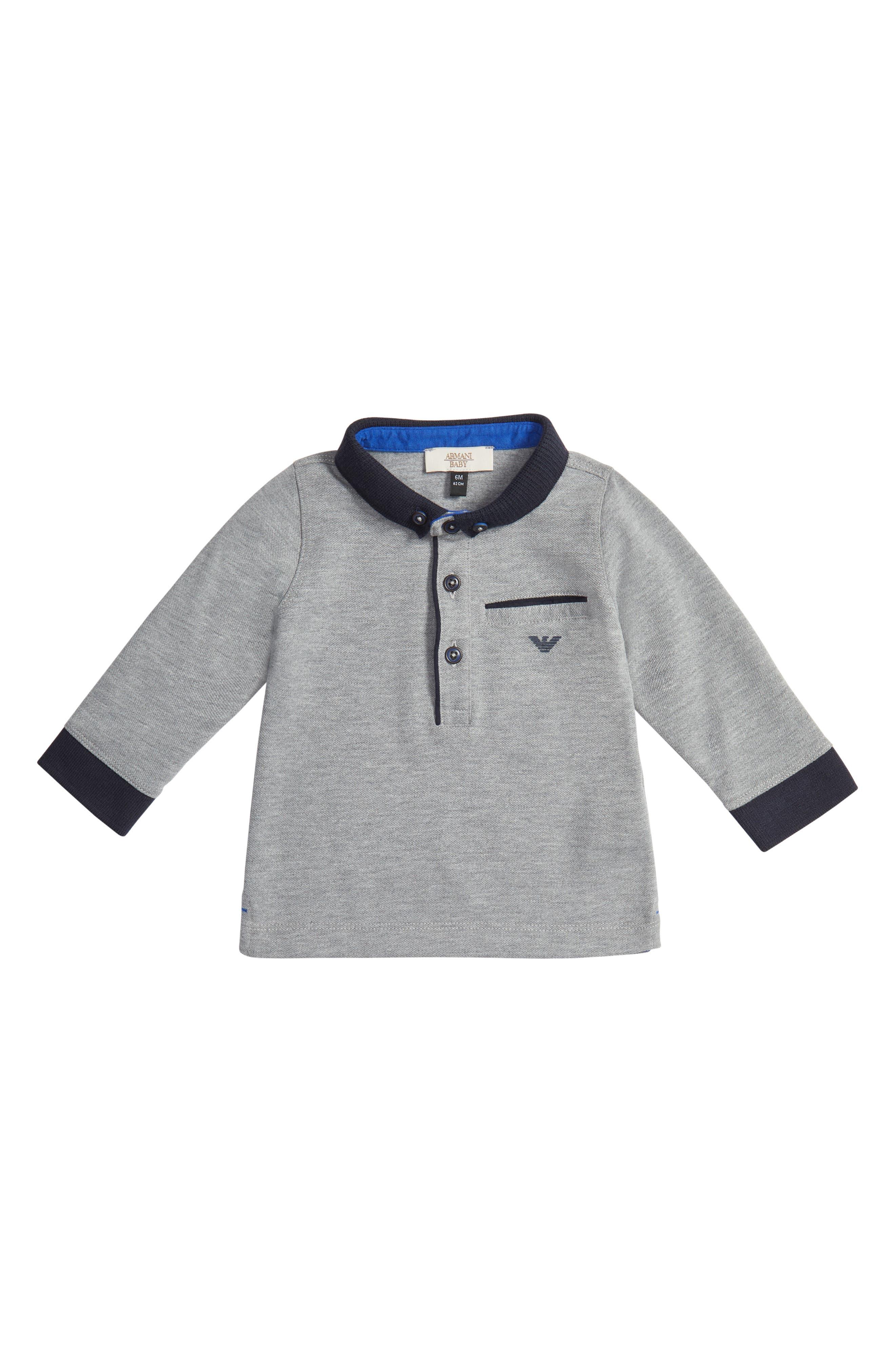 Armani Junior Long Sleeve Polo (Baby Boys)