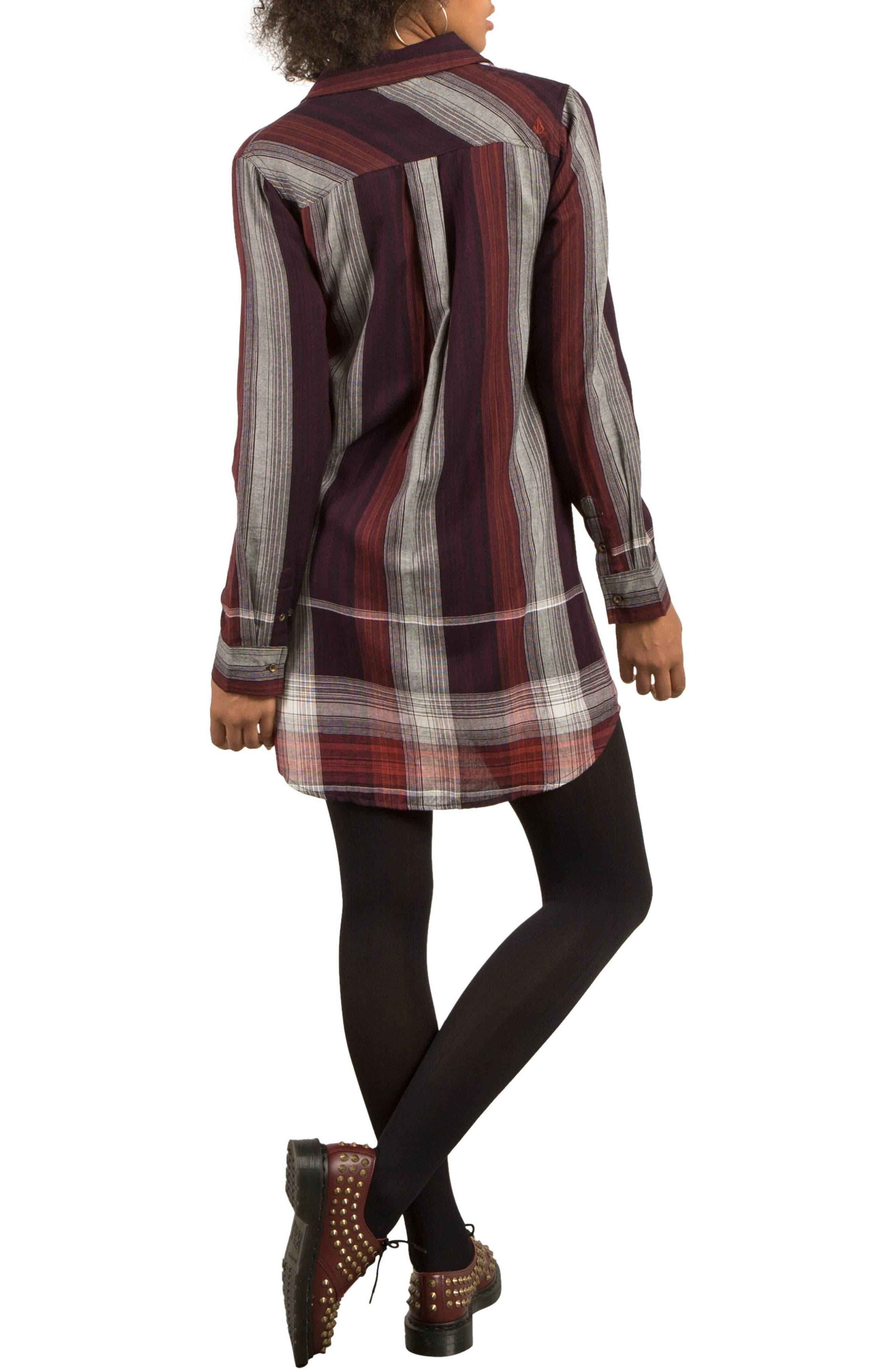 Well Plaid Shirtdress,                             Alternate thumbnail 2, color,                             Plum