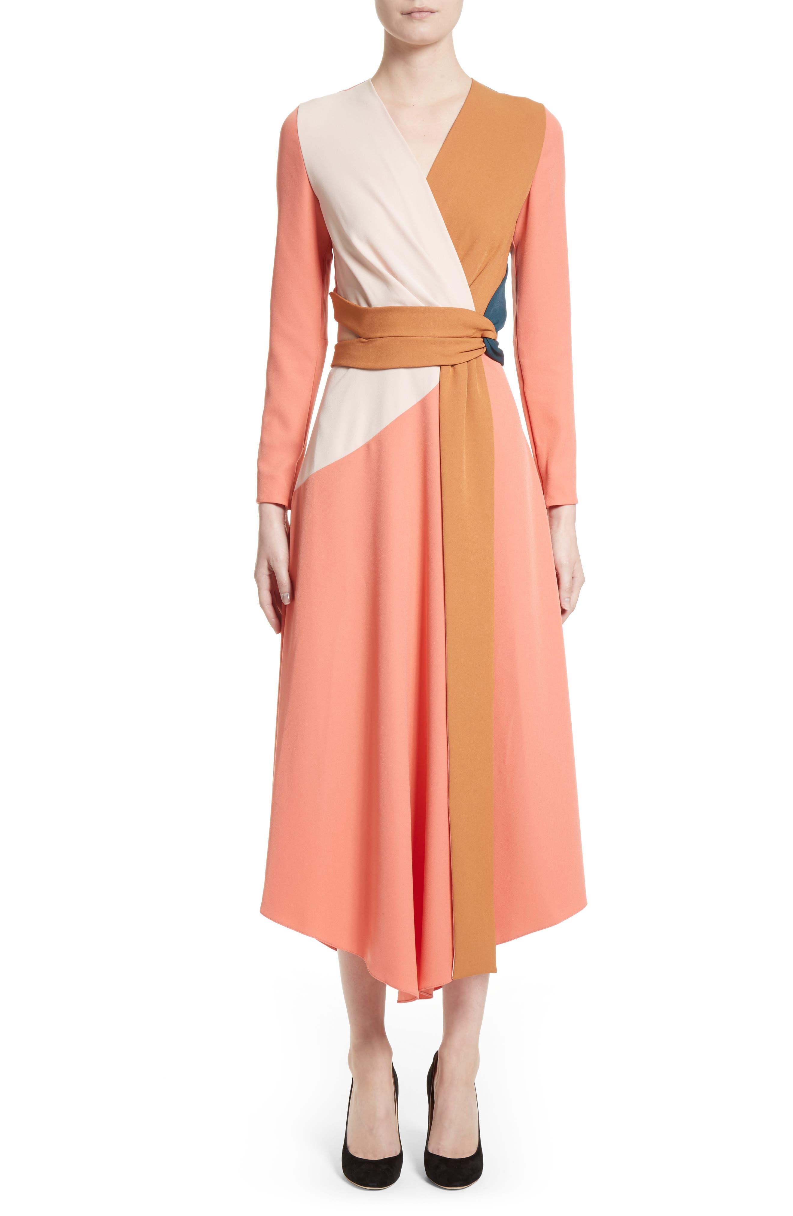 Himera Wrap Dress,                         Main,                         color, Apricot/ Blush/ Desert Sand