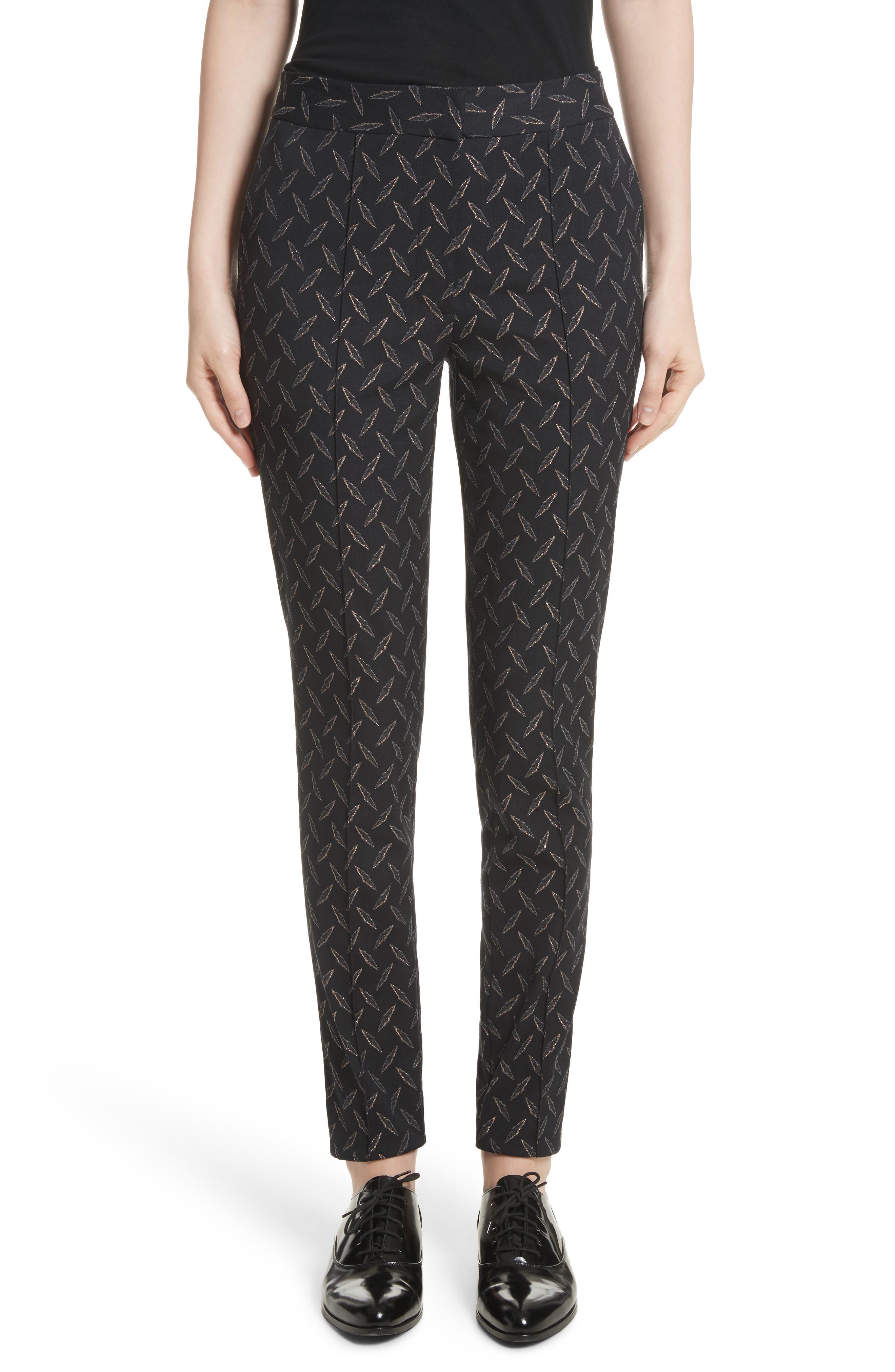 Metallic Stretch Jacquard Pants,                         Main,                         color, Jet Multi