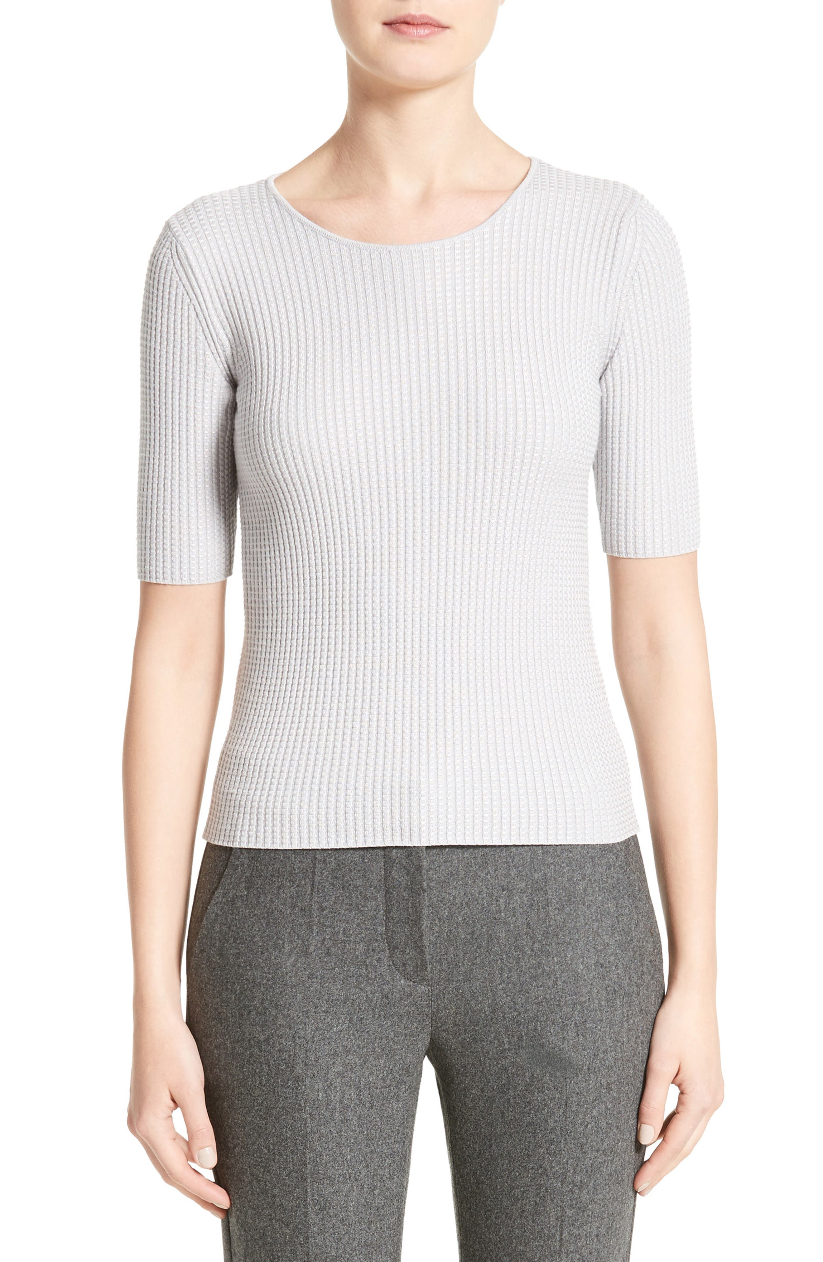 Stretch Wool Blend Top,                         Main,                         color, Light Grey