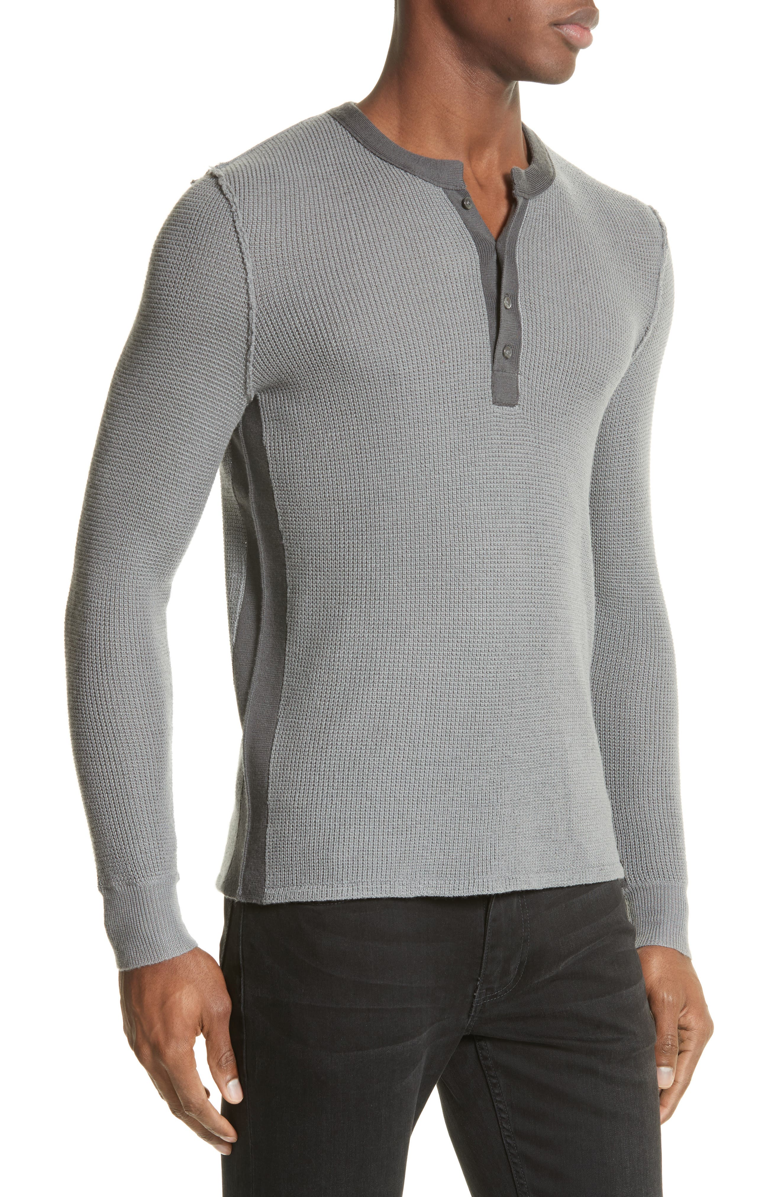 Zack Two-Tone Waffle Knit Wool Henley,                             Alternate thumbnail 3, color,                             Cement/ Carbon