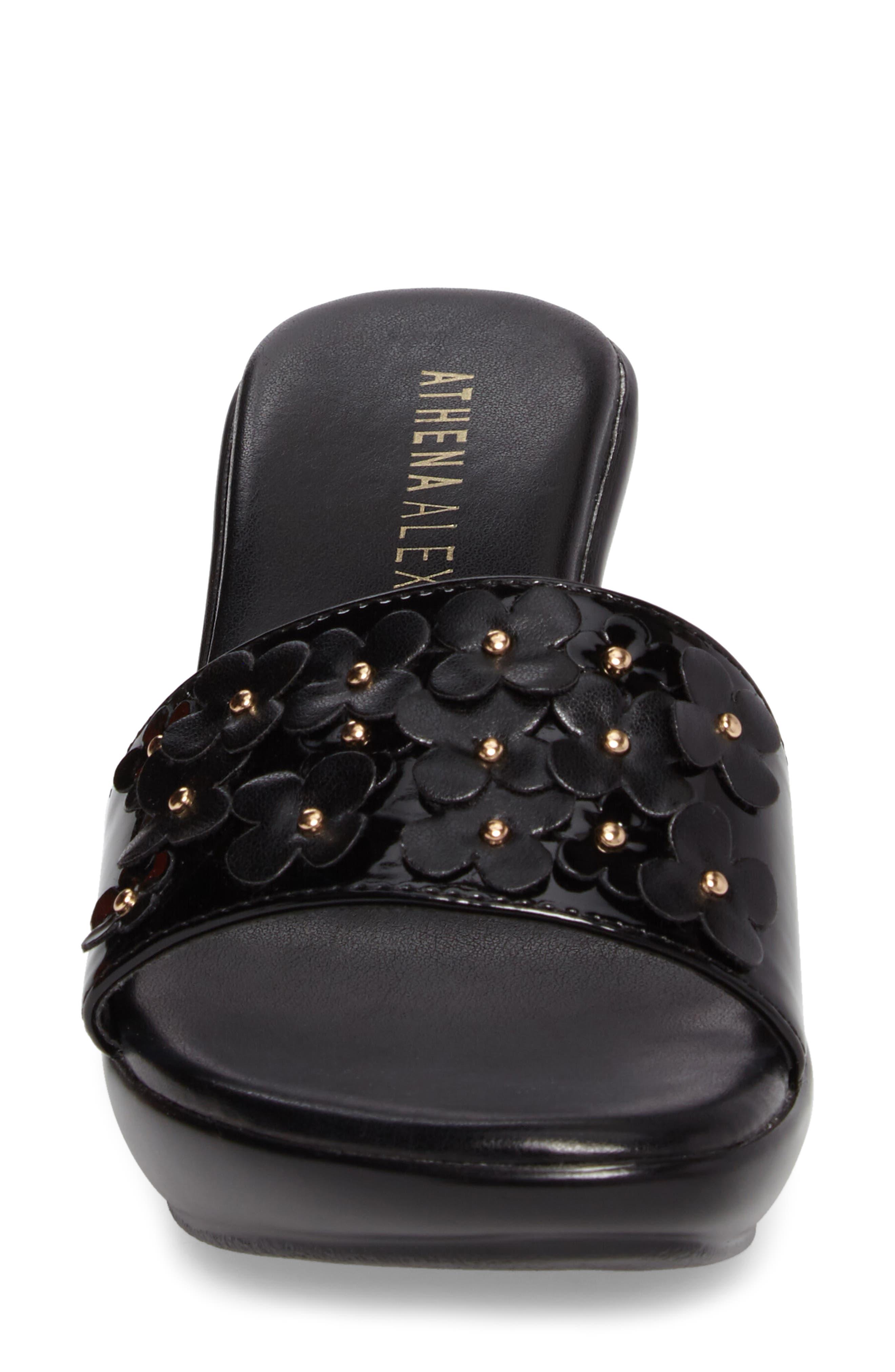 Allegra Wedge Slide,                             Alternate thumbnail 4, color,                             Black Faux Leather