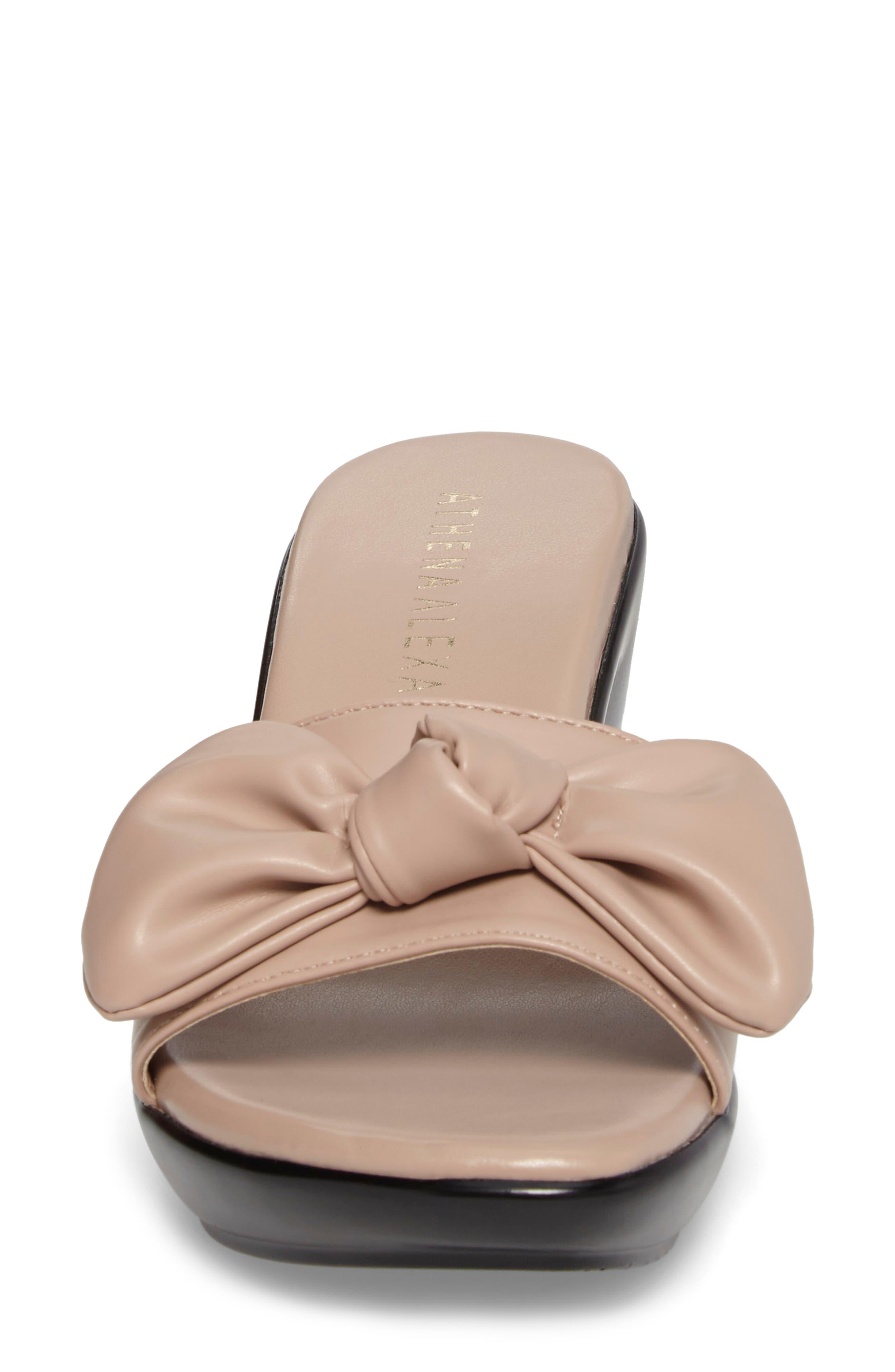 Pattye Knotted Slide Sandal,                             Alternate thumbnail 4, color,                             Blush Faux Leather
