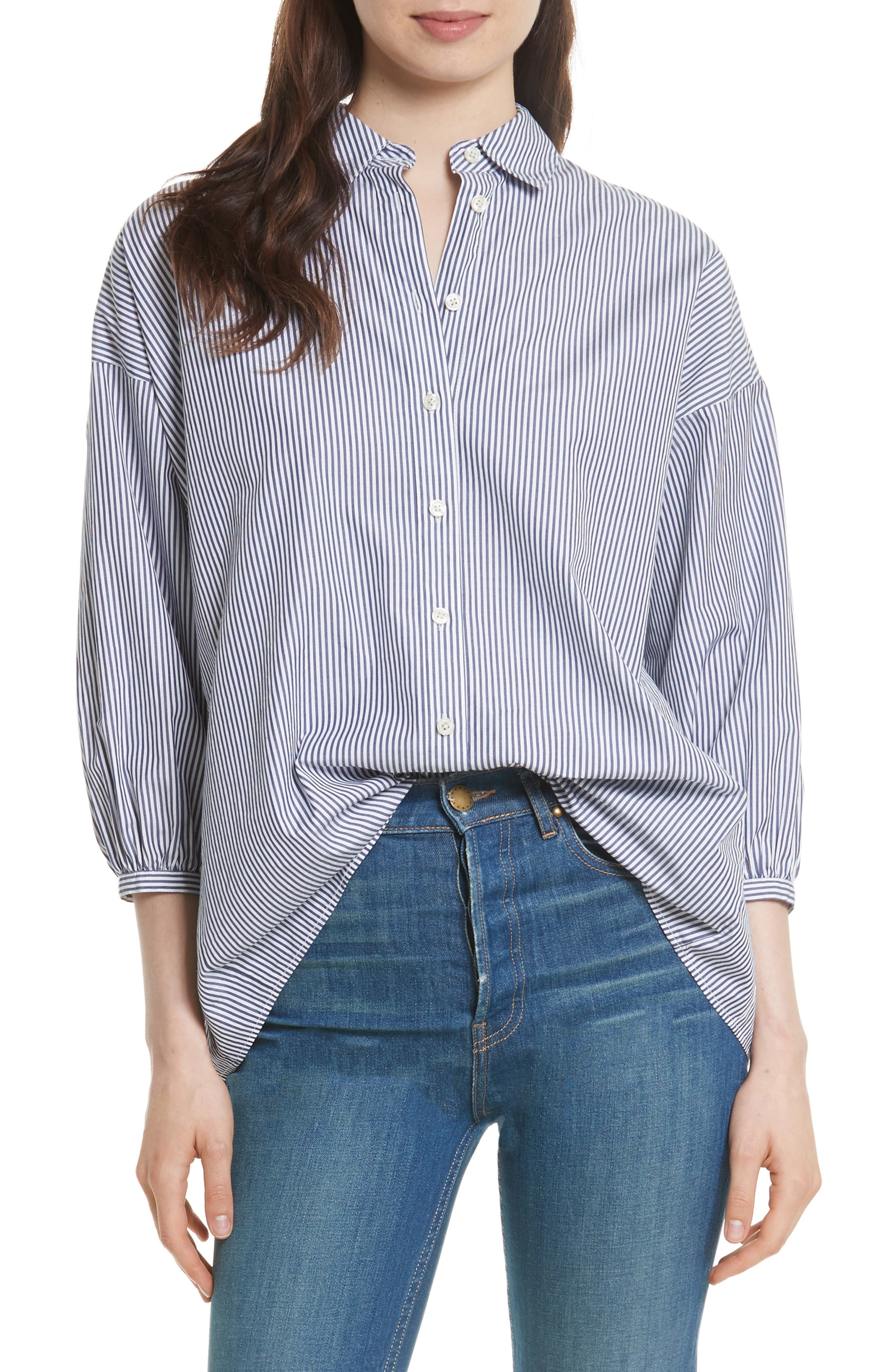 The Easy Stripe Cotton Shirt,                         Main,                         color, Navy/ White Stripe