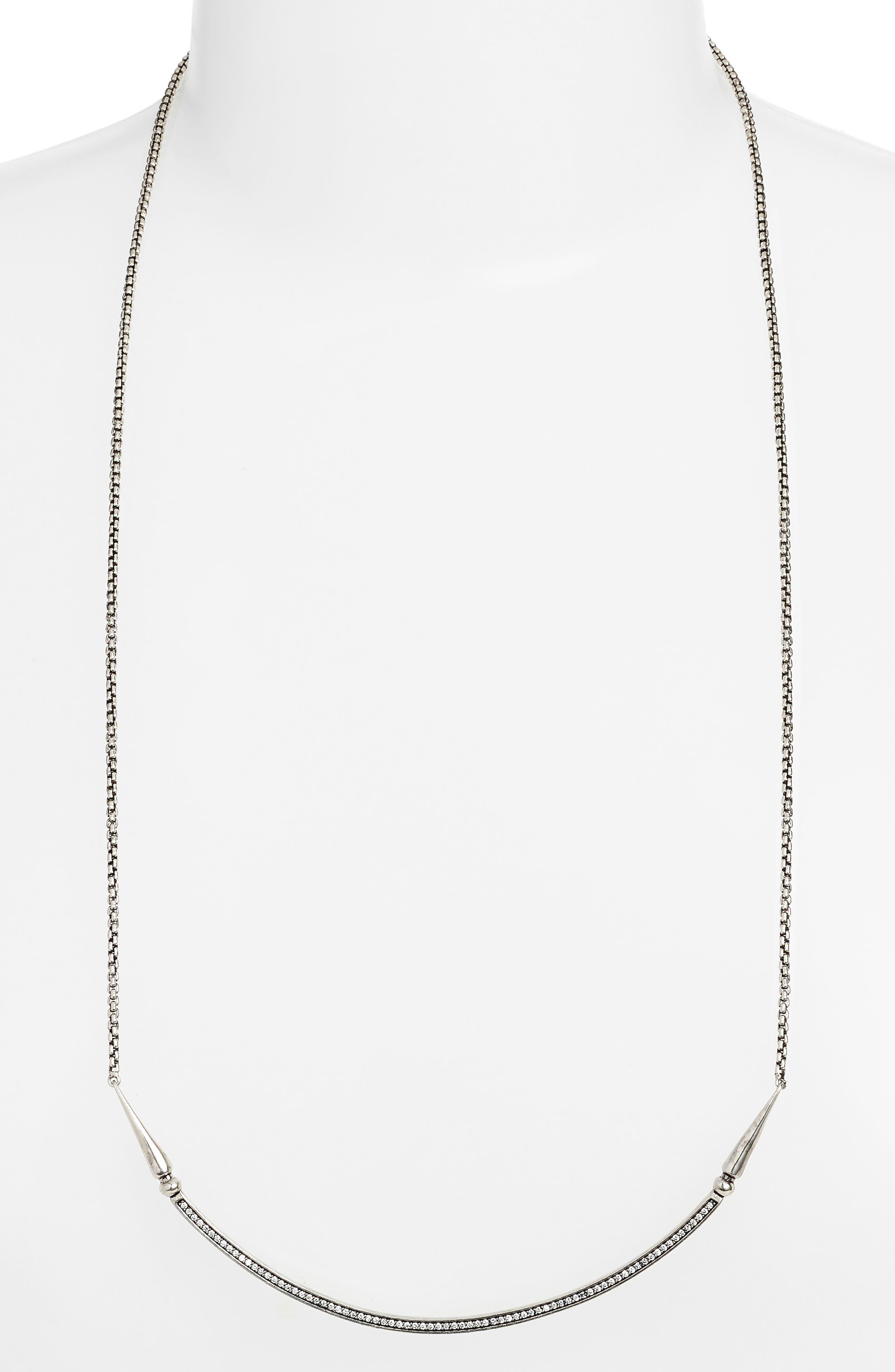 'Scottie' Pendant Necklace,                             Main thumbnail 1, color,                             White Cz/ Silver