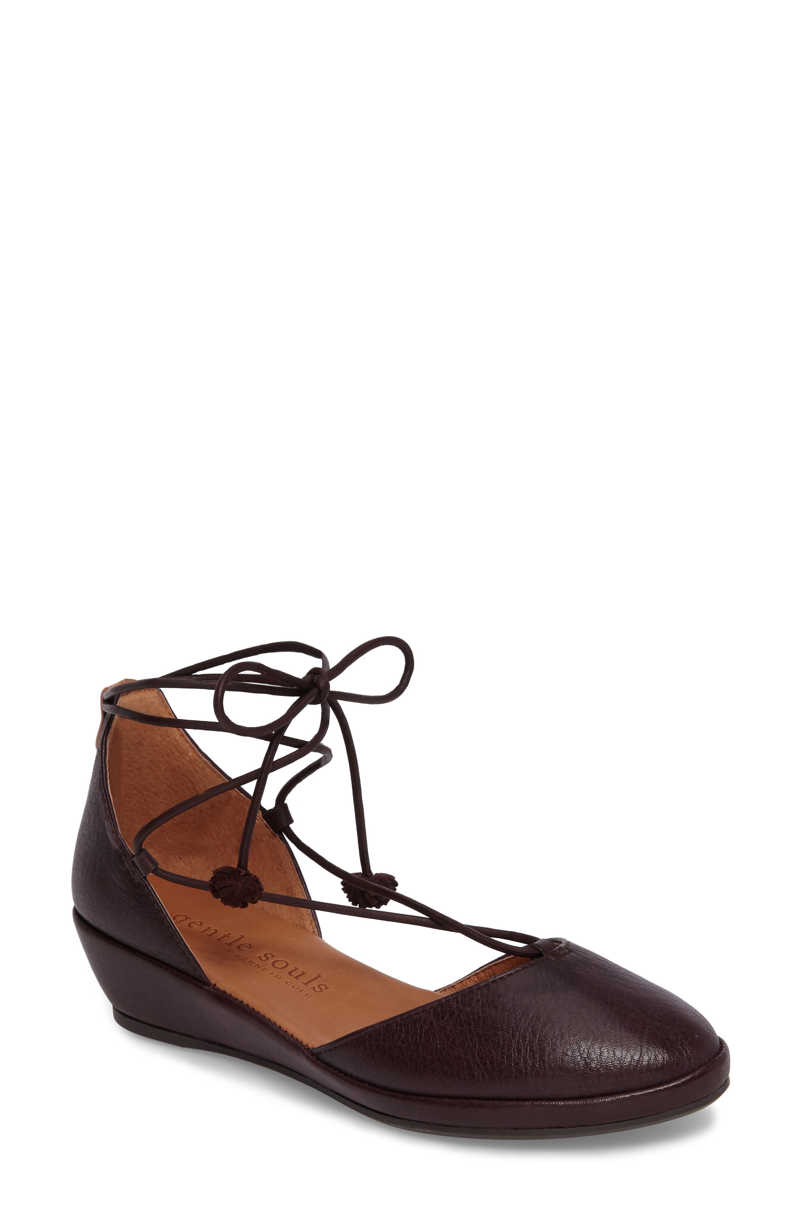 Nerissa Ghillie Wedge,                         Main,                         color, Merlot Leather