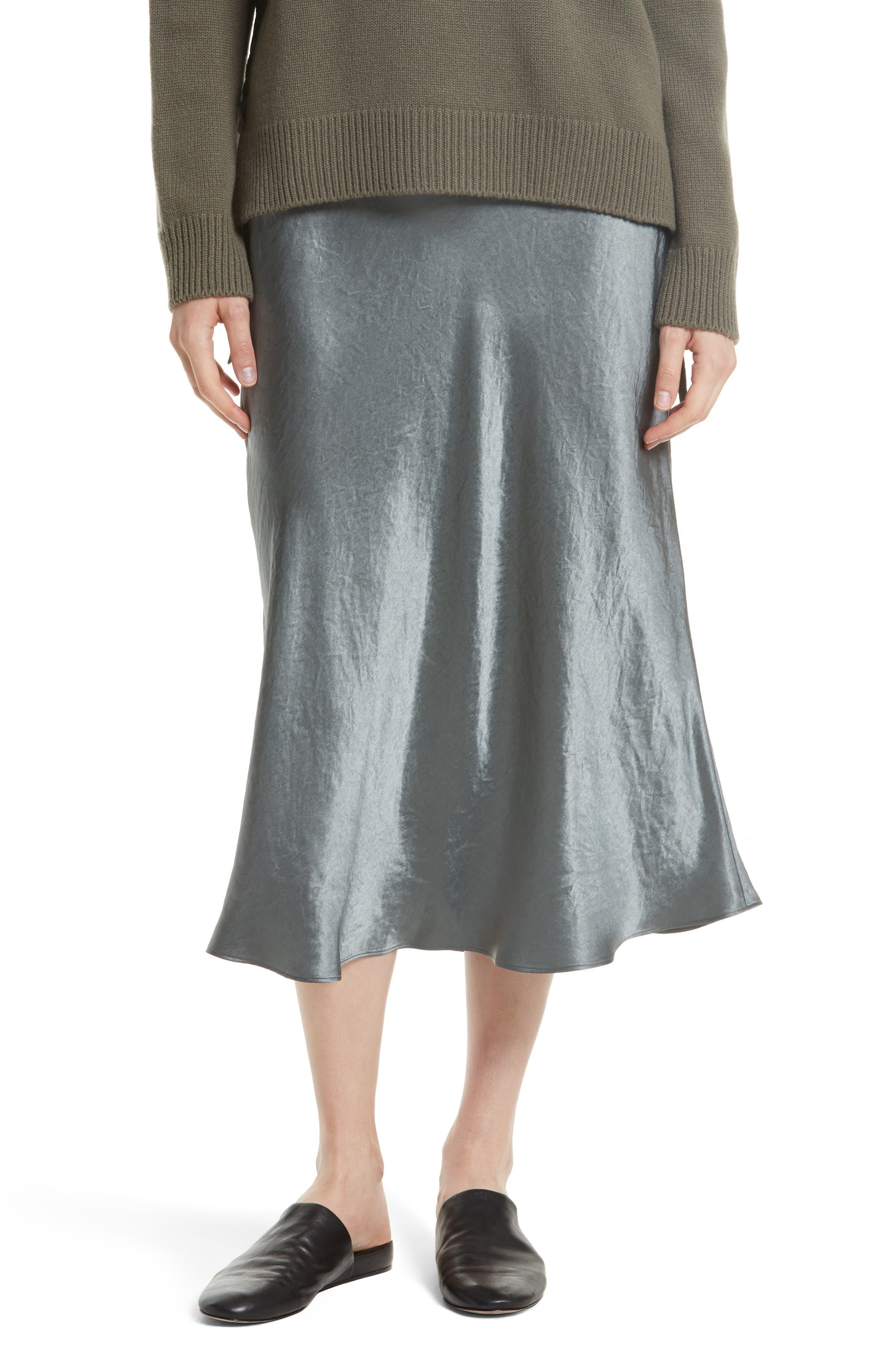 Elastic Waist Slip Skirt,                         Main,                         color, Pine