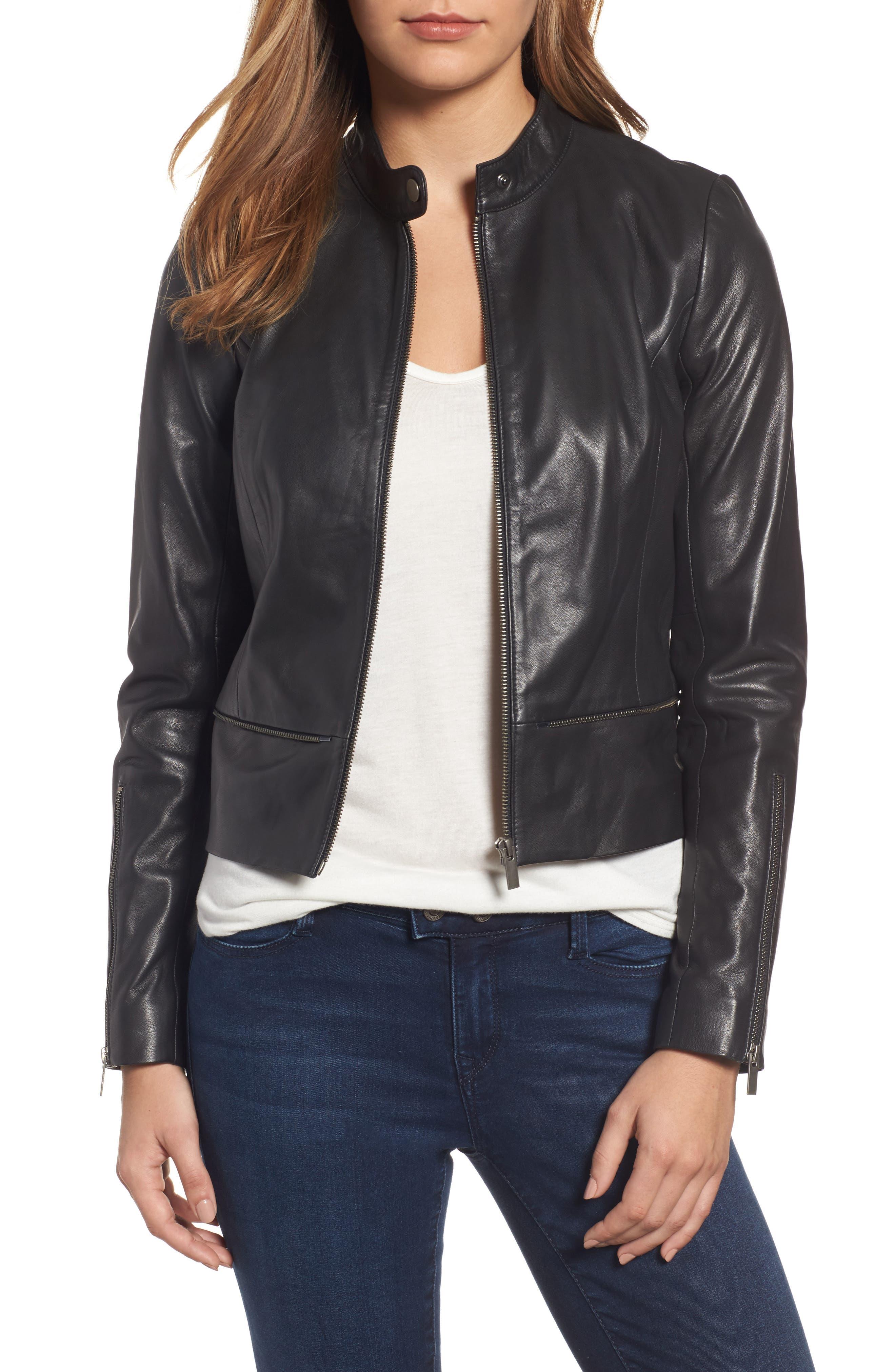 Halogen® Zip Detail Leather Moto Jacket (Regular & Petite)