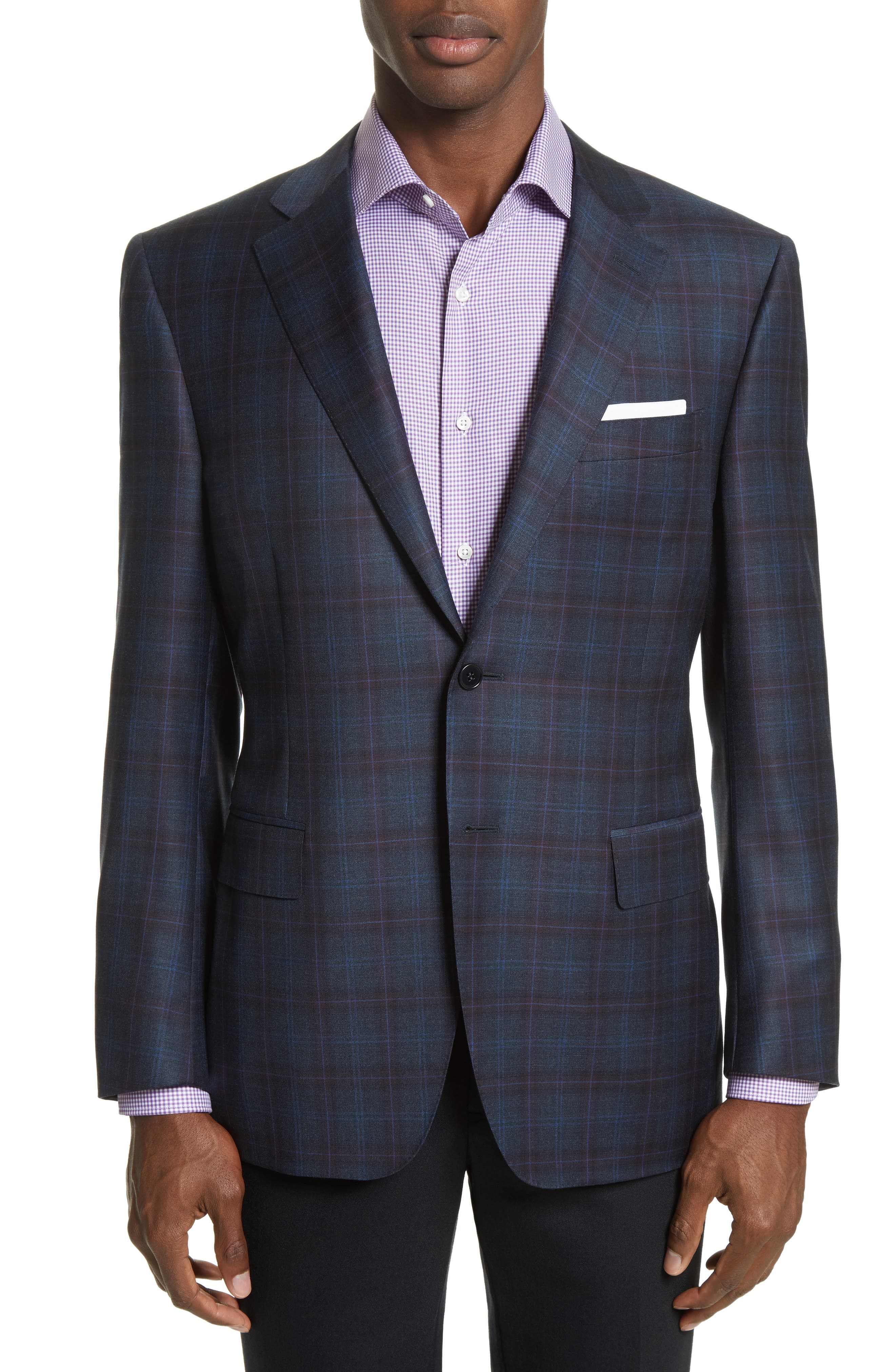 Kei Classic Fit Plaid Wool Sport Coat,                         Main,                         color, Blue