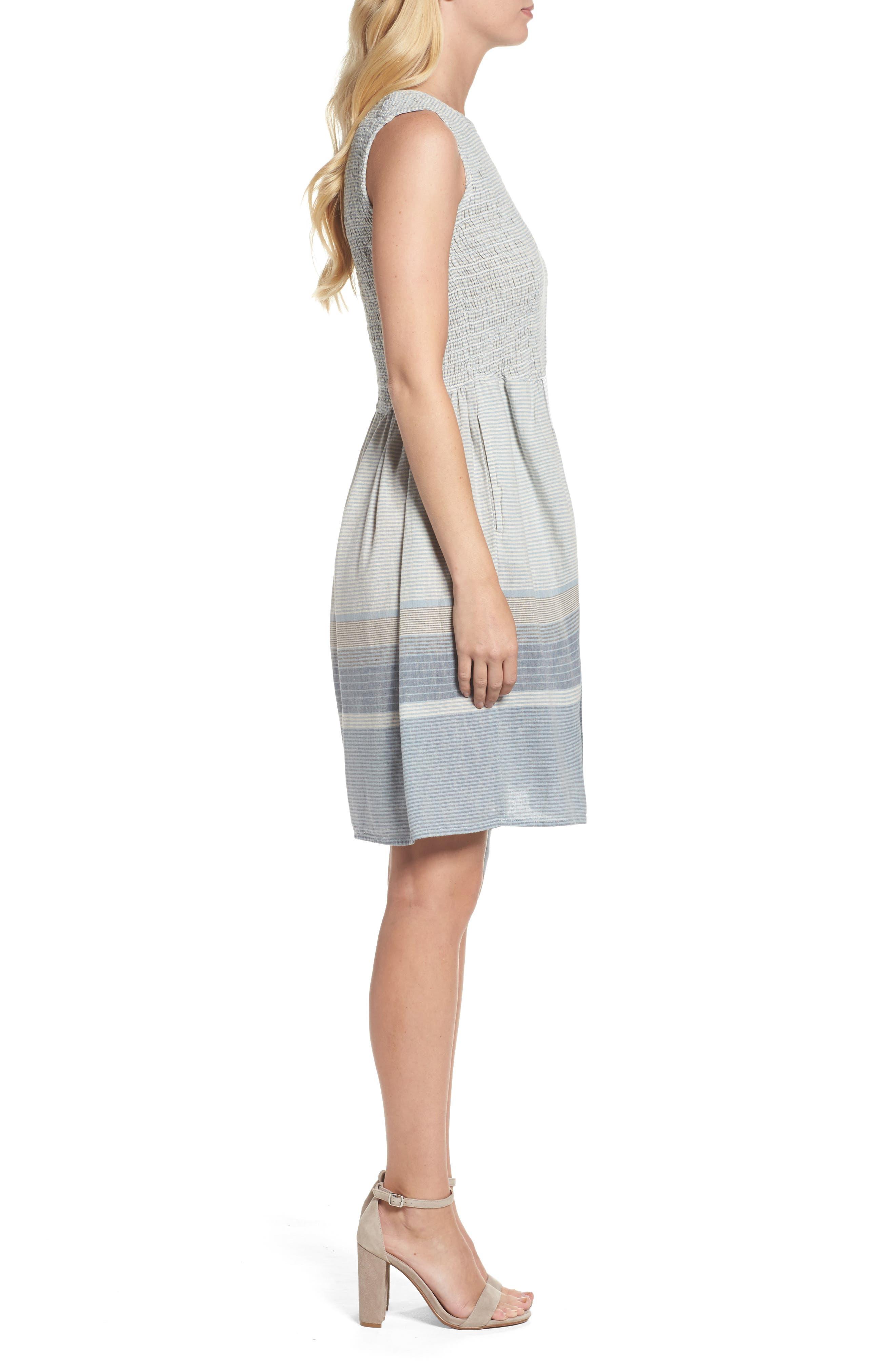 Serge Stripe Fit & Flare Dress,                             Alternate thumbnail 3, color,                             Indigo Wash