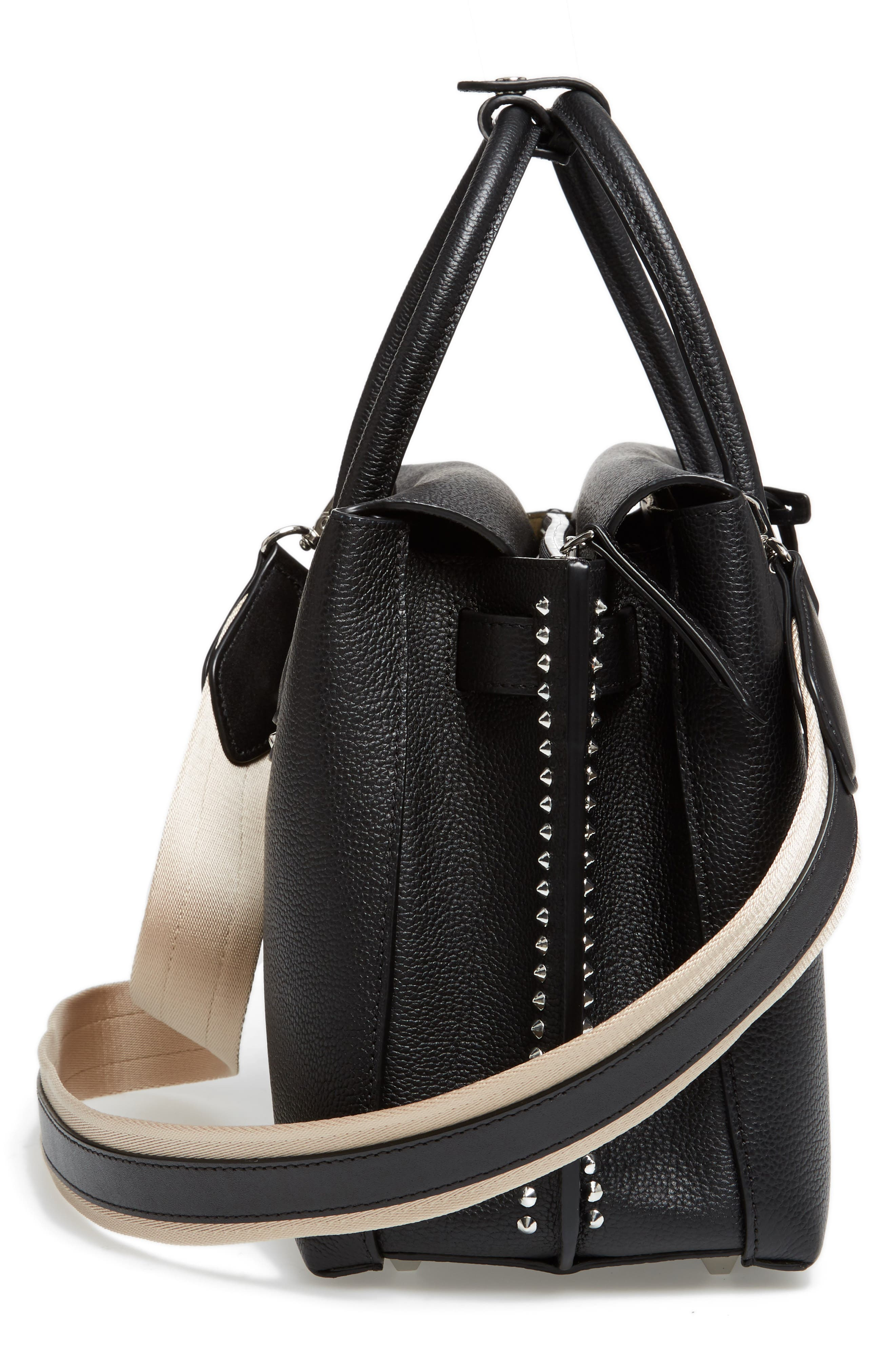 Medium Milla Studded Leather Tote,                             Alternate thumbnail 4, color,                             Black