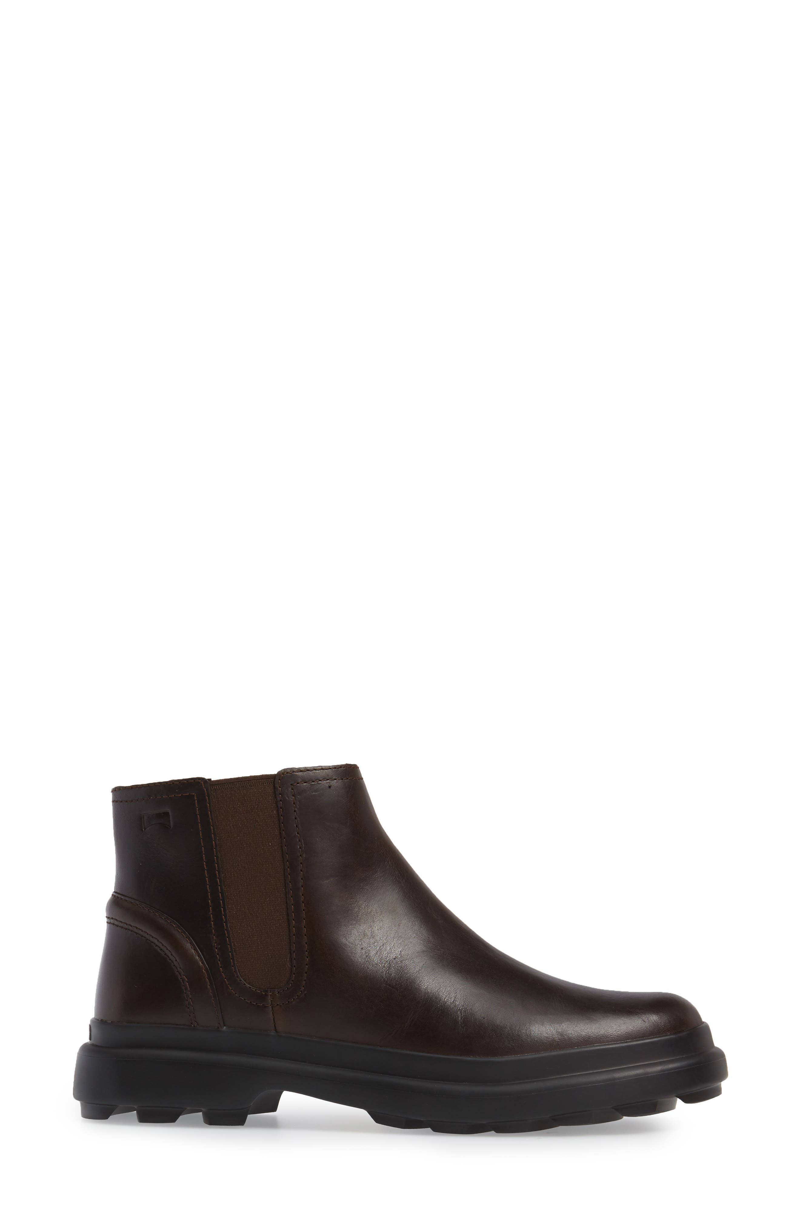 Turtle Lugged Chelsea Boot,                             Alternate thumbnail 3, color,                             Dark Brown Leather