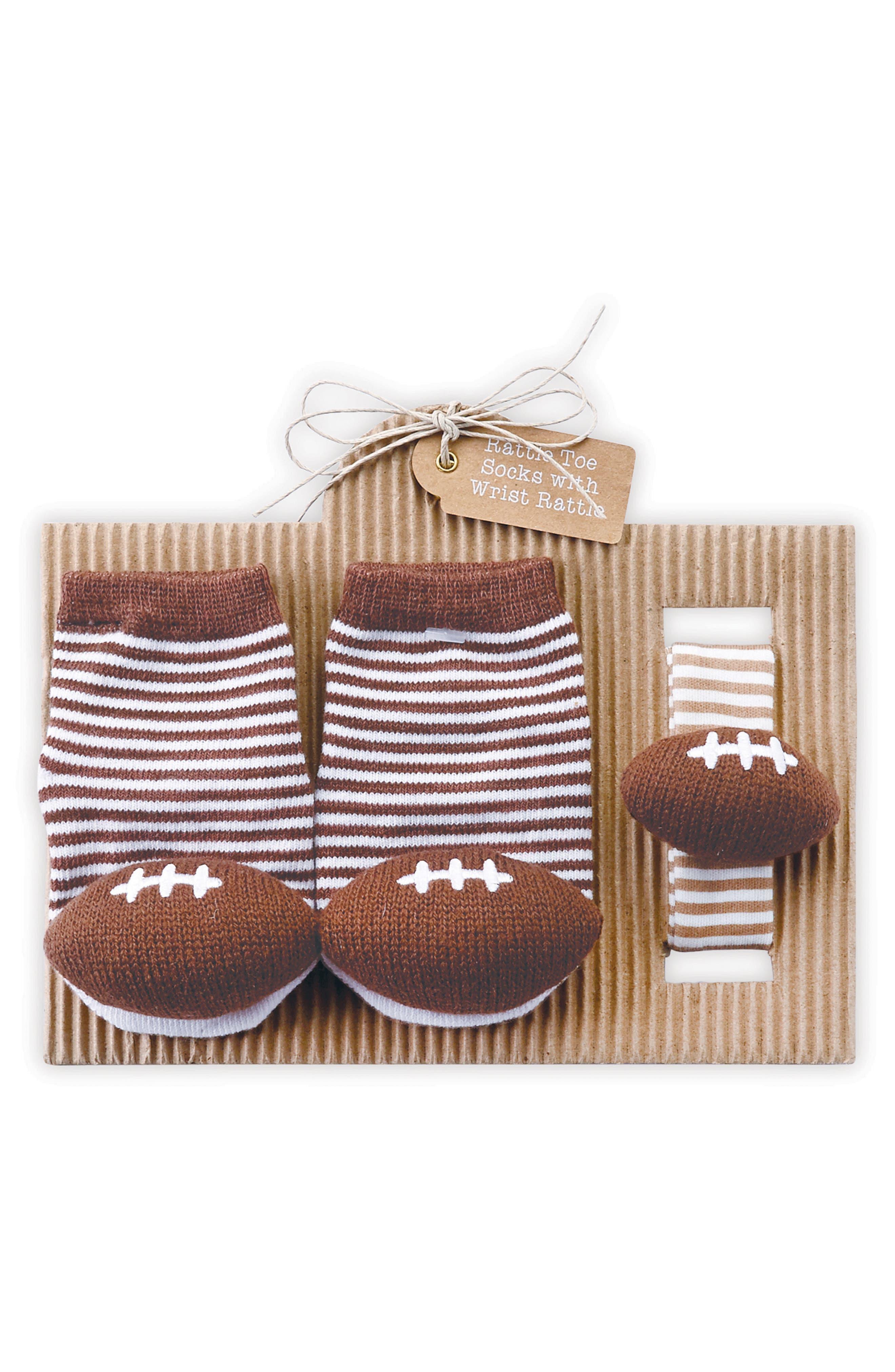 MUD PIE Football Socks & Wrist Rattle Set