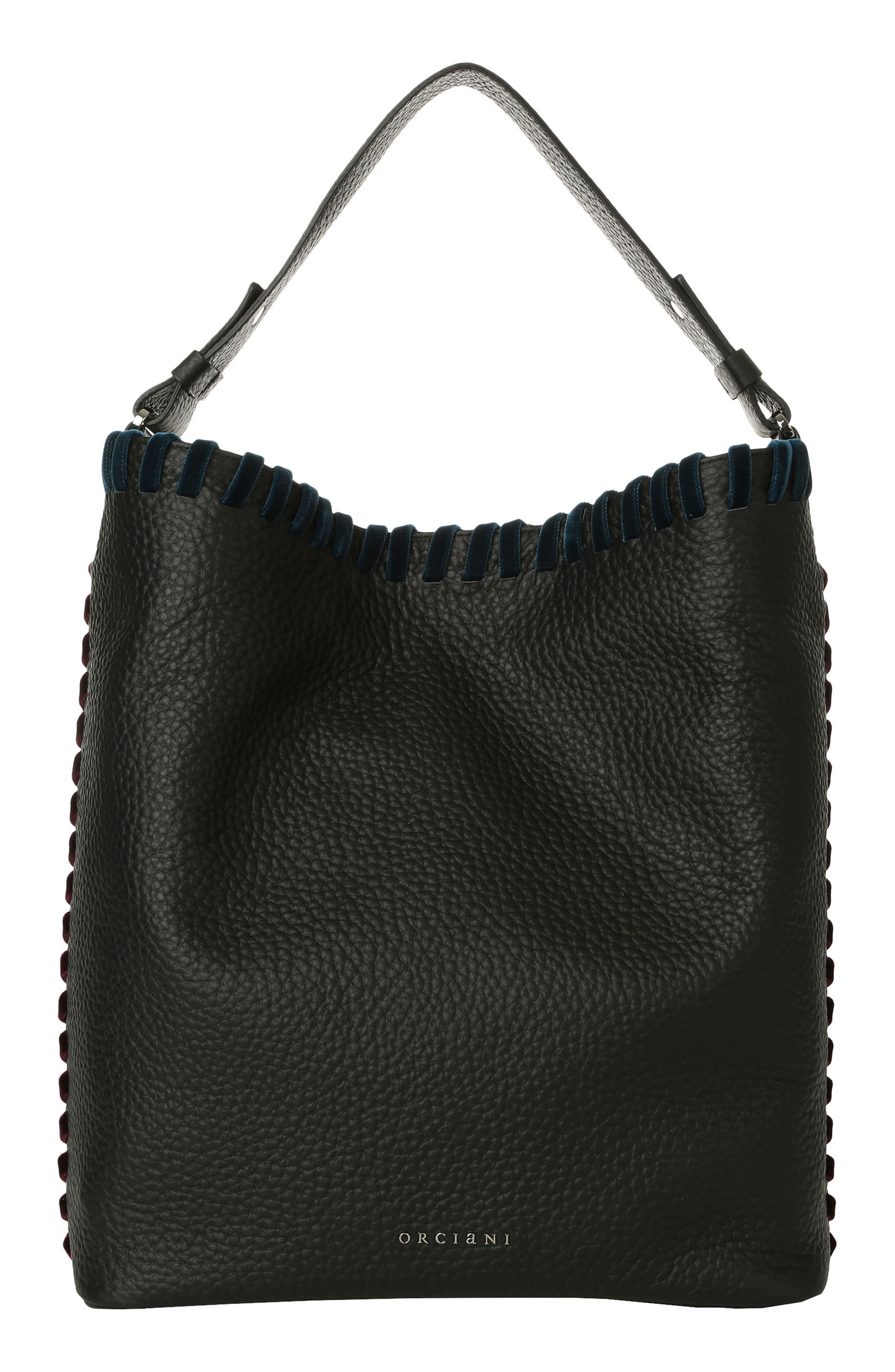 Noona Velvet Trim Calfskin Leather Tote,                             Main thumbnail 1, color,                             Black