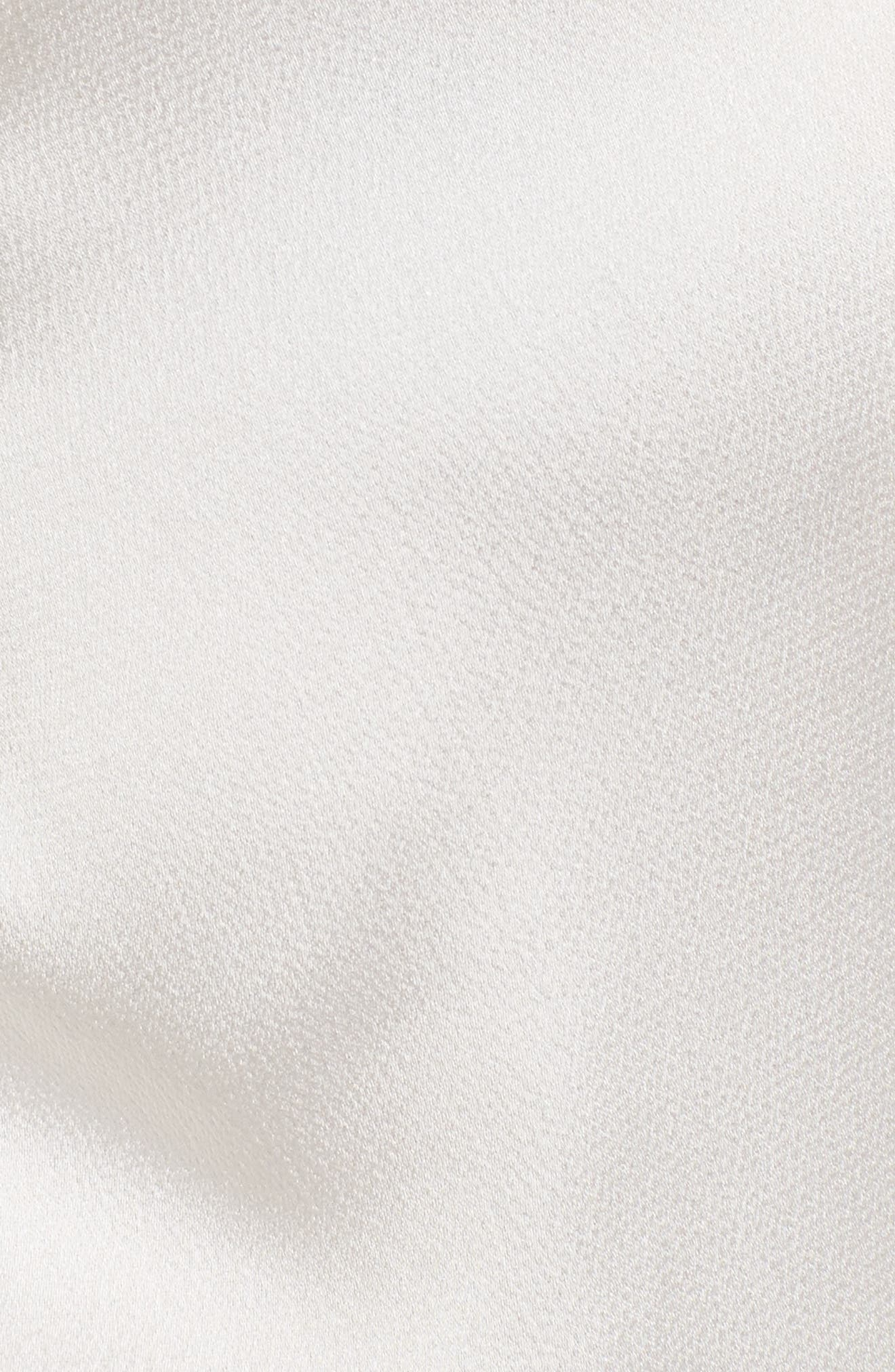 Knotted Hammered Satin Blouse,                             Alternate thumbnail 6, color,                             Ivory