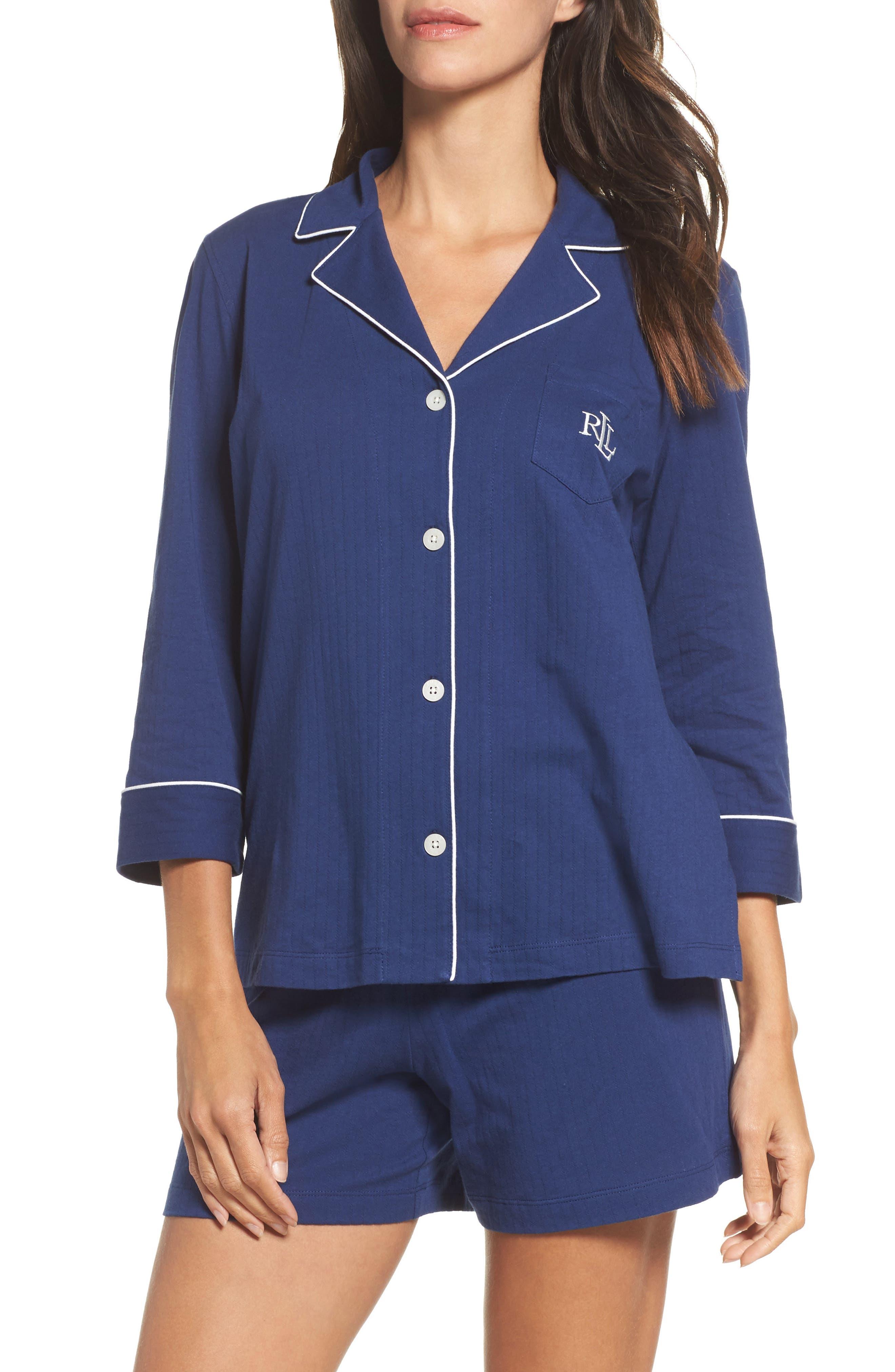 Notched Collar Pajamas,                             Main thumbnail 1, color,                             Navy