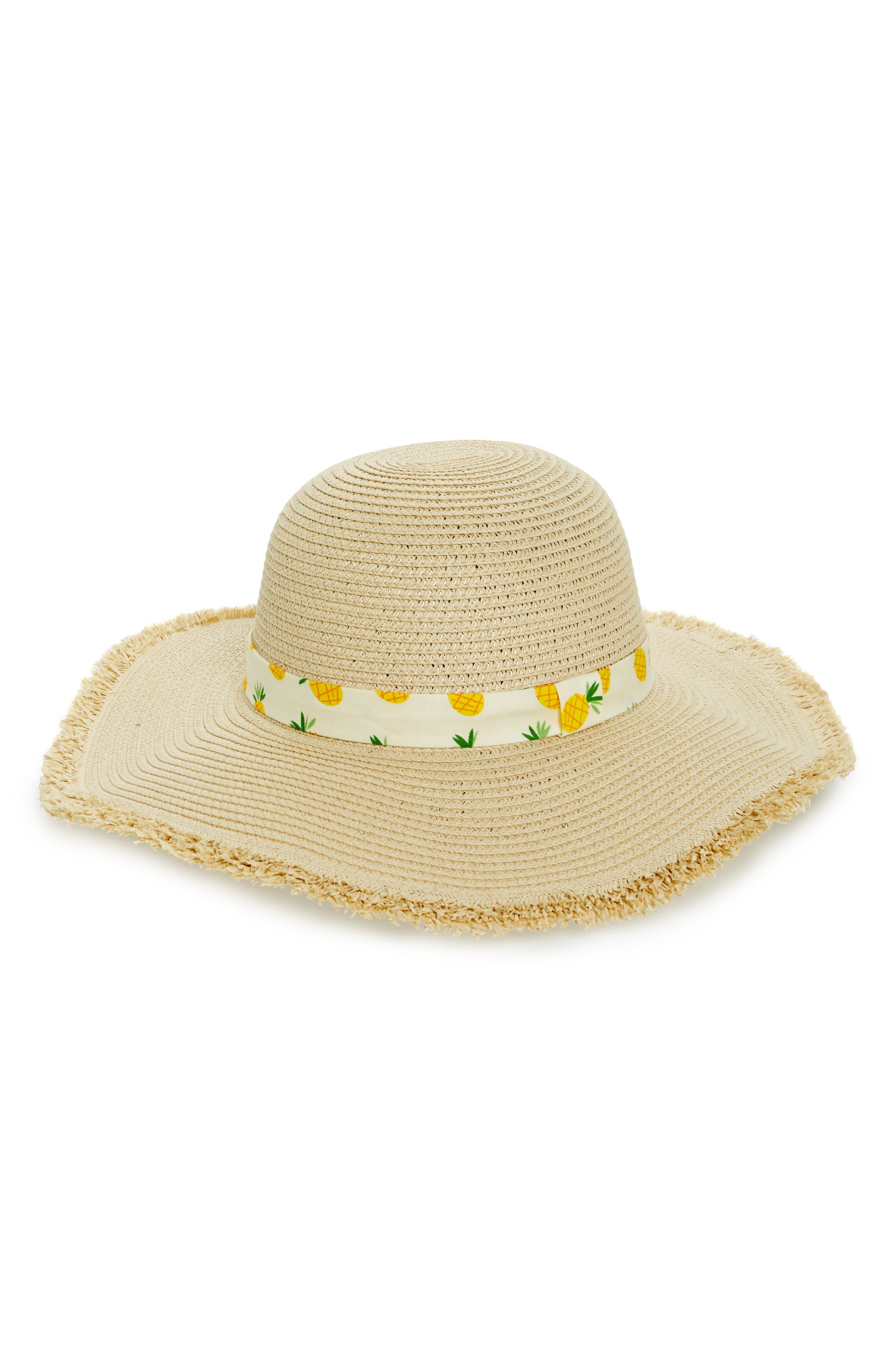 Novelty Band Floppy Straw Hat,                         Main,                         color, Natural/ Multi
