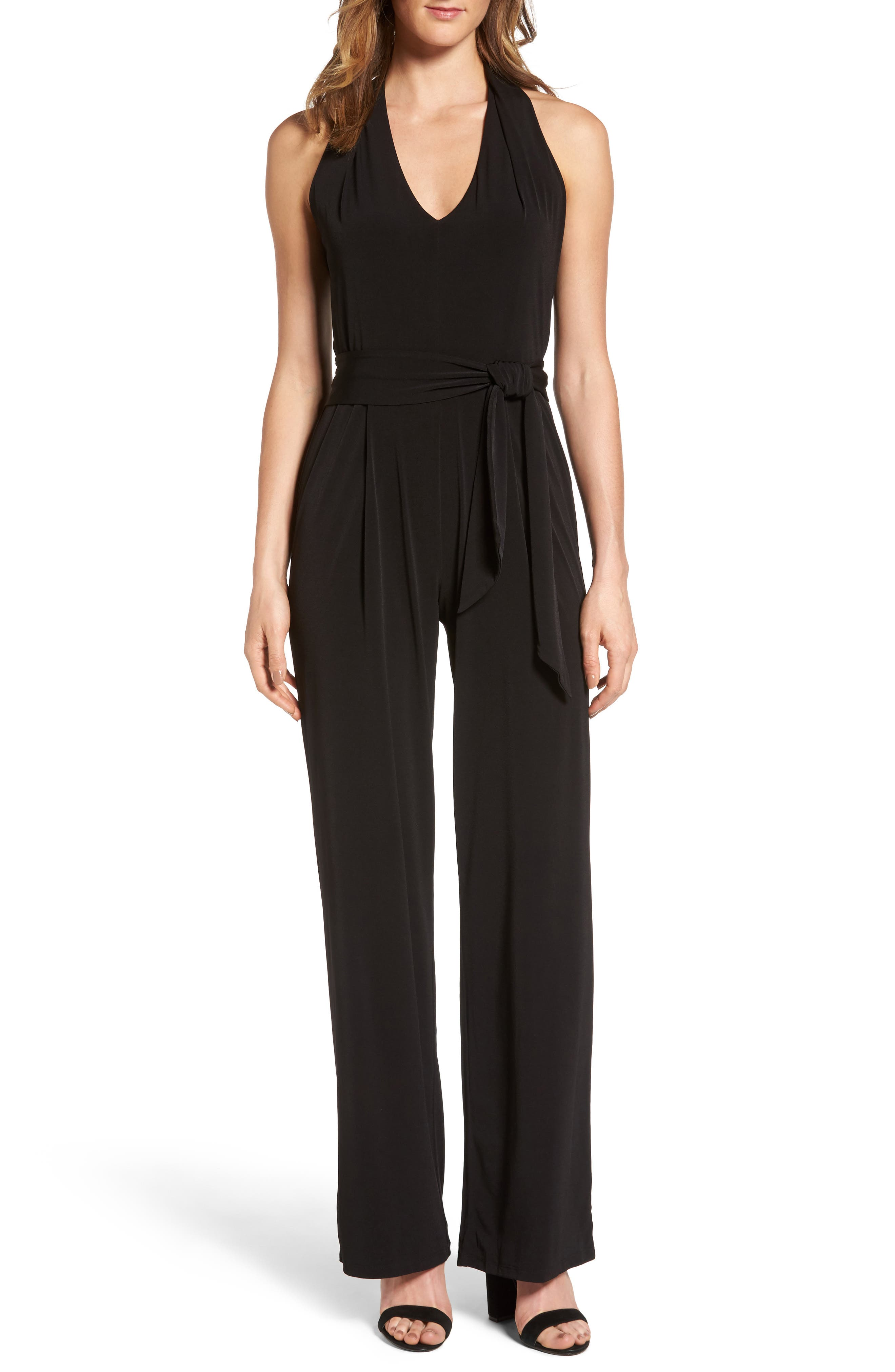 Belted Jumpsuit,                         Main,                         color, Black