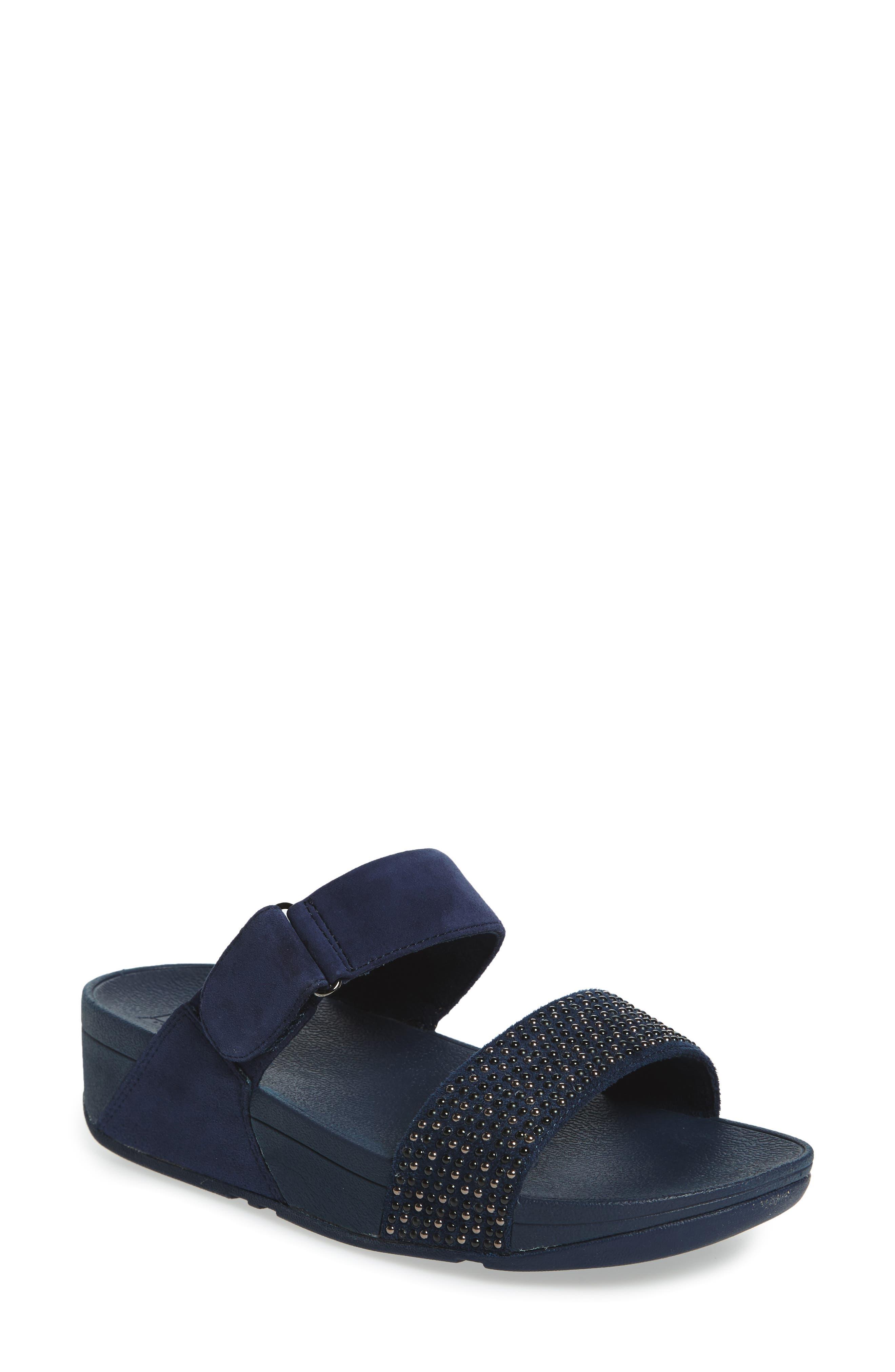 Alternate Image 1 Selected - FitFlop Lulu Popstud Wedge Slide Sandal (Women)