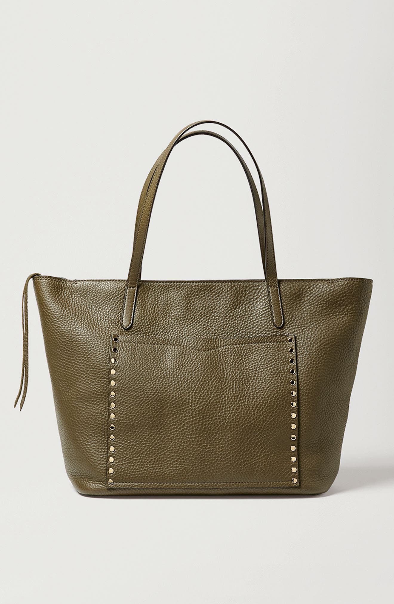 Unlined Front Pocket Leather Tote,                             Alternate thumbnail 7, color,