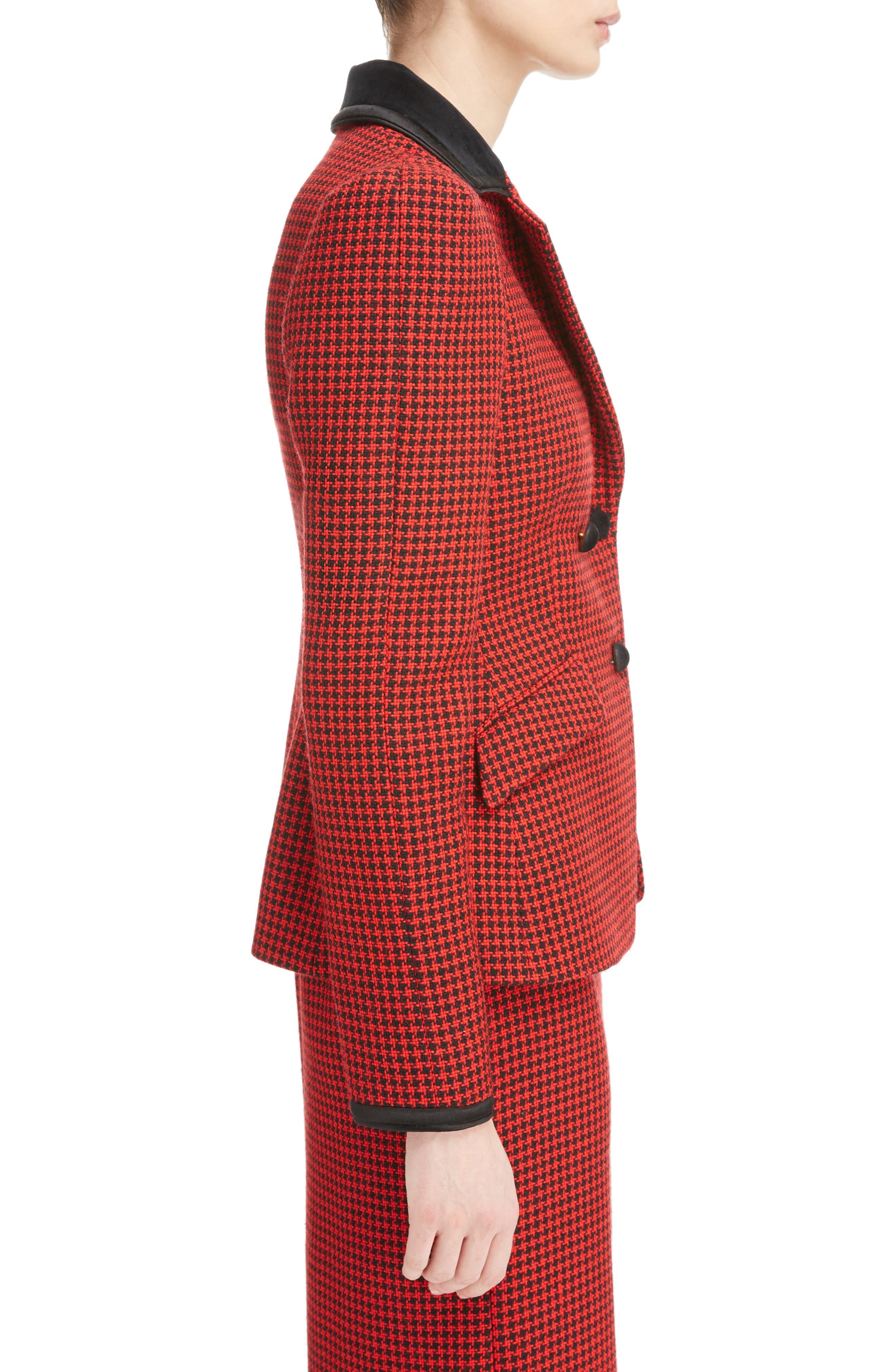 Paladini Houndstooth Wool Jacket,                             Alternate thumbnail 3, color,                             Scarlet/ Black