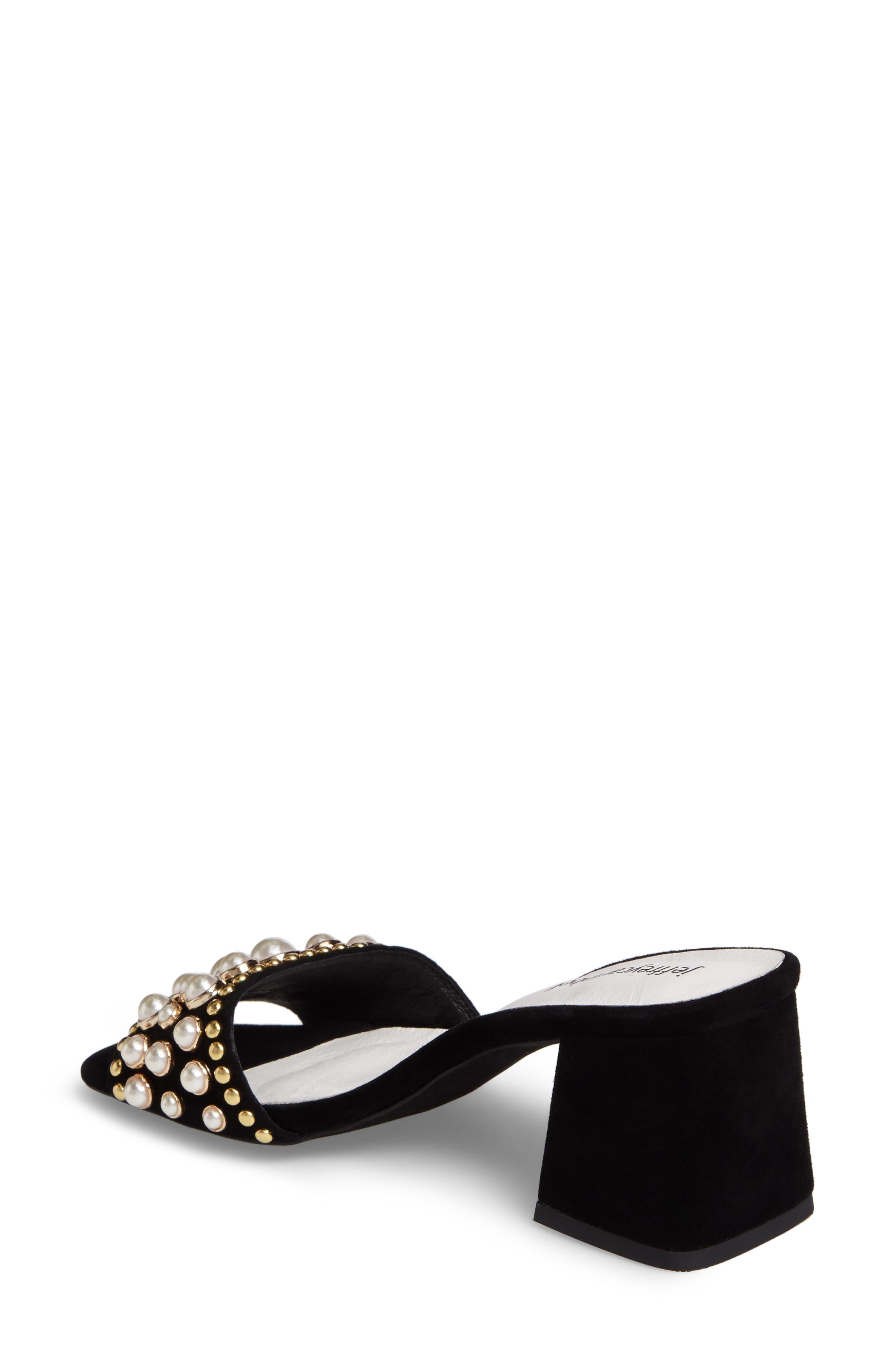 Parr Embellished Slide Sandal,                             Alternate thumbnail 2, color,                             Black Suede
