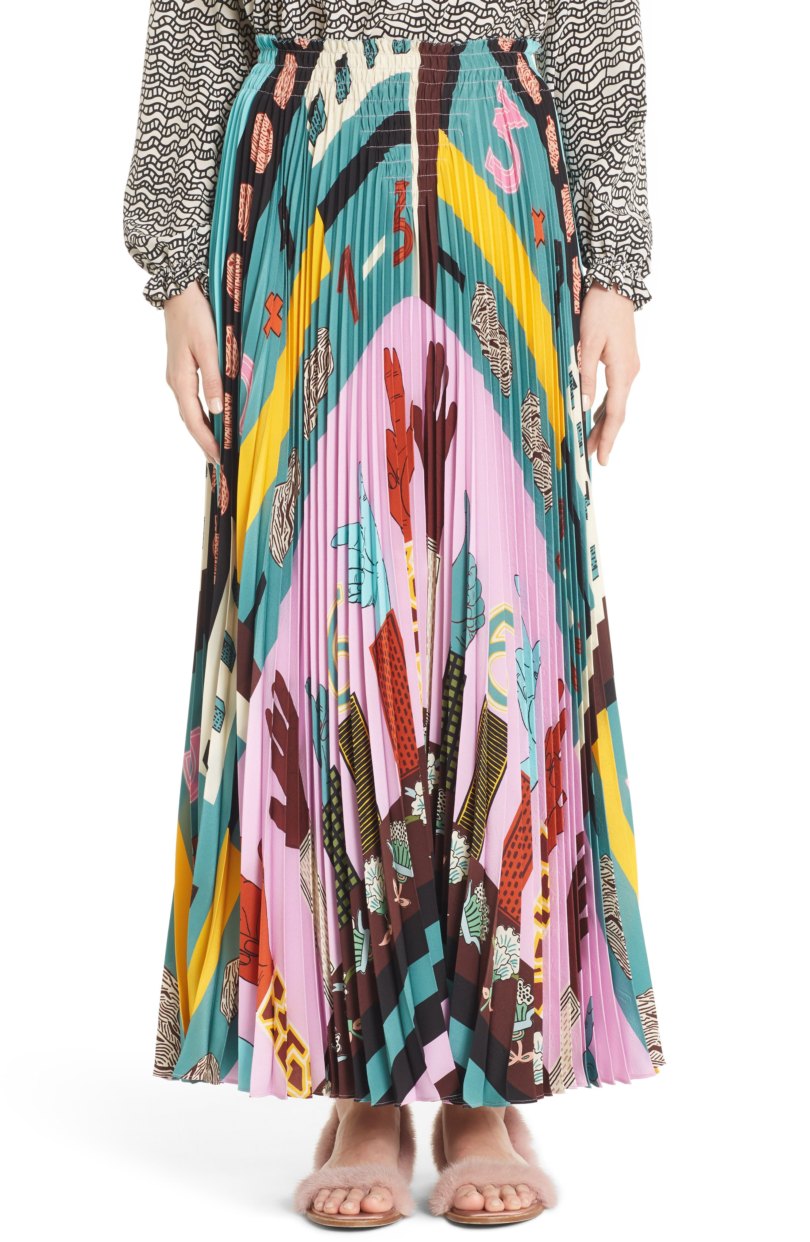 Counting Print Plissé Crêpe de Chine Midi Skirt,                         Main,                         color, Cherry Blossom