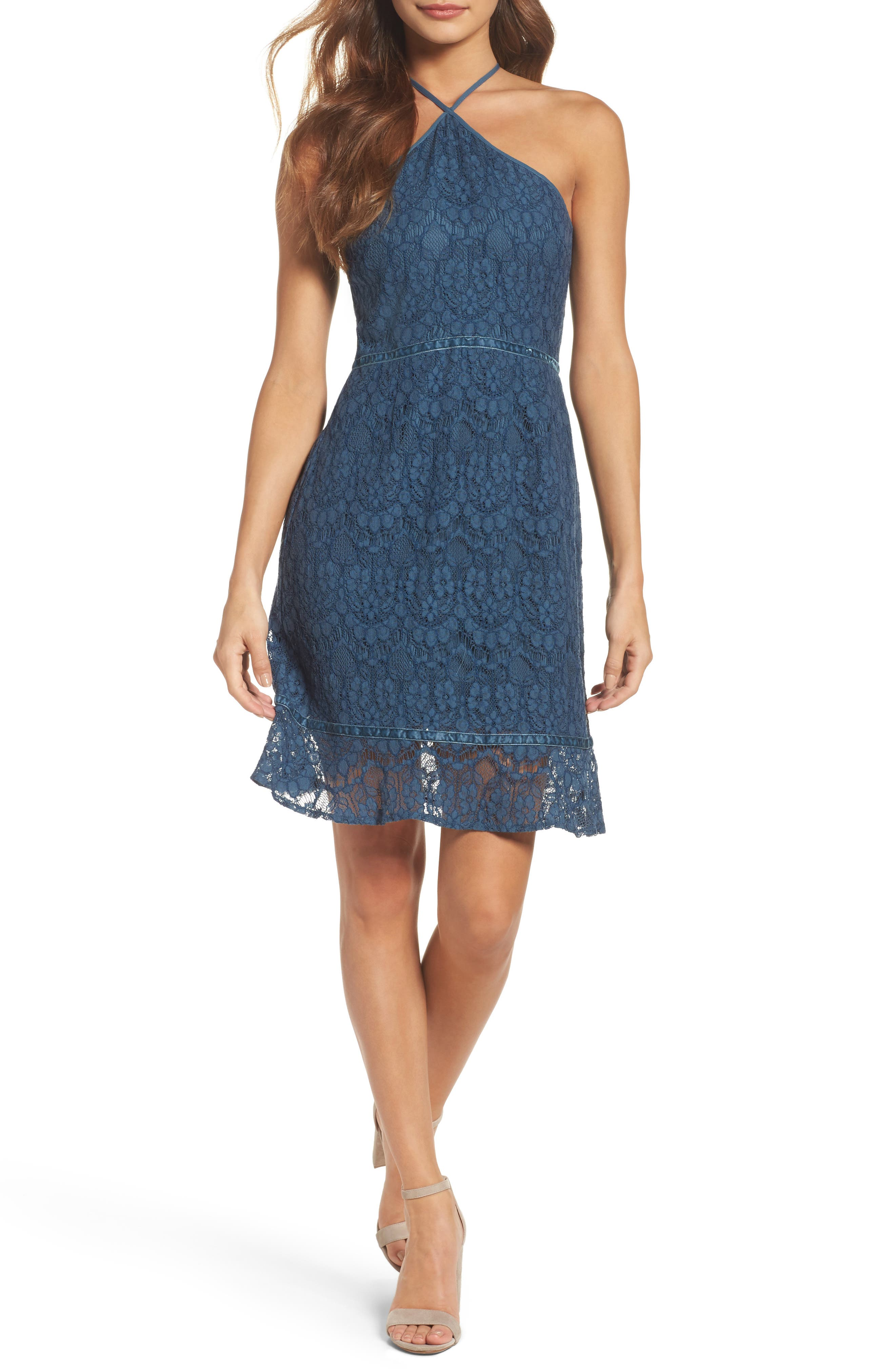 Lace Fit & Flare Dress,                         Main,                         color, Teal Moroccan