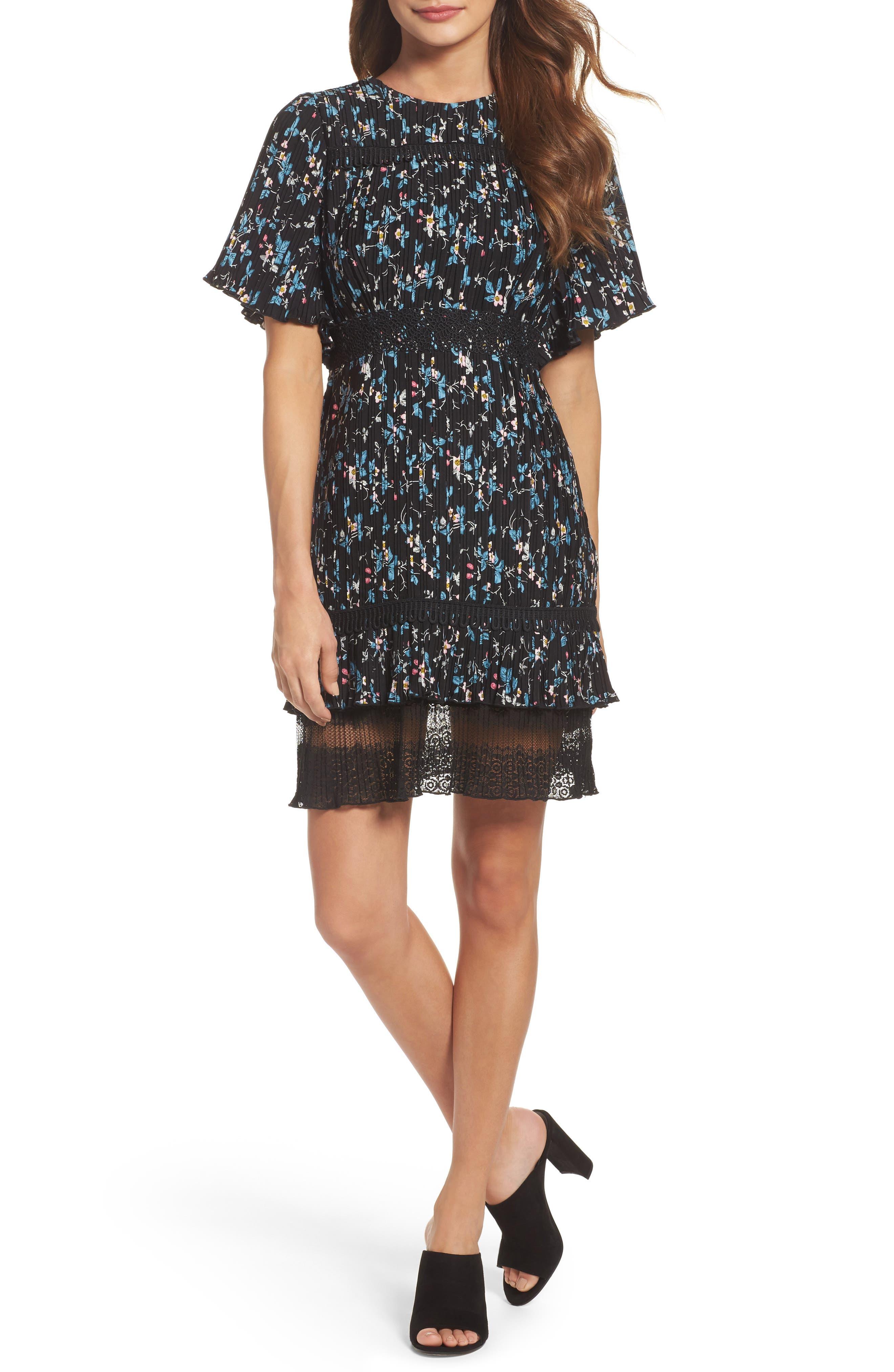Pleated Lace Dress,                         Main,                         color, Black Vine Floral