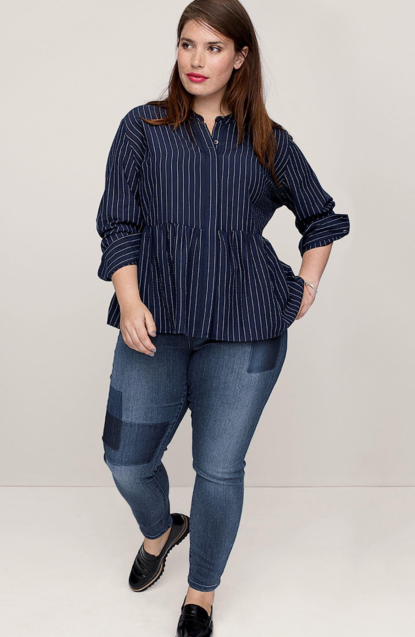 Alternate Image 2  - Caslon® Patchwork Skinny Jeans (Regular & Petite)