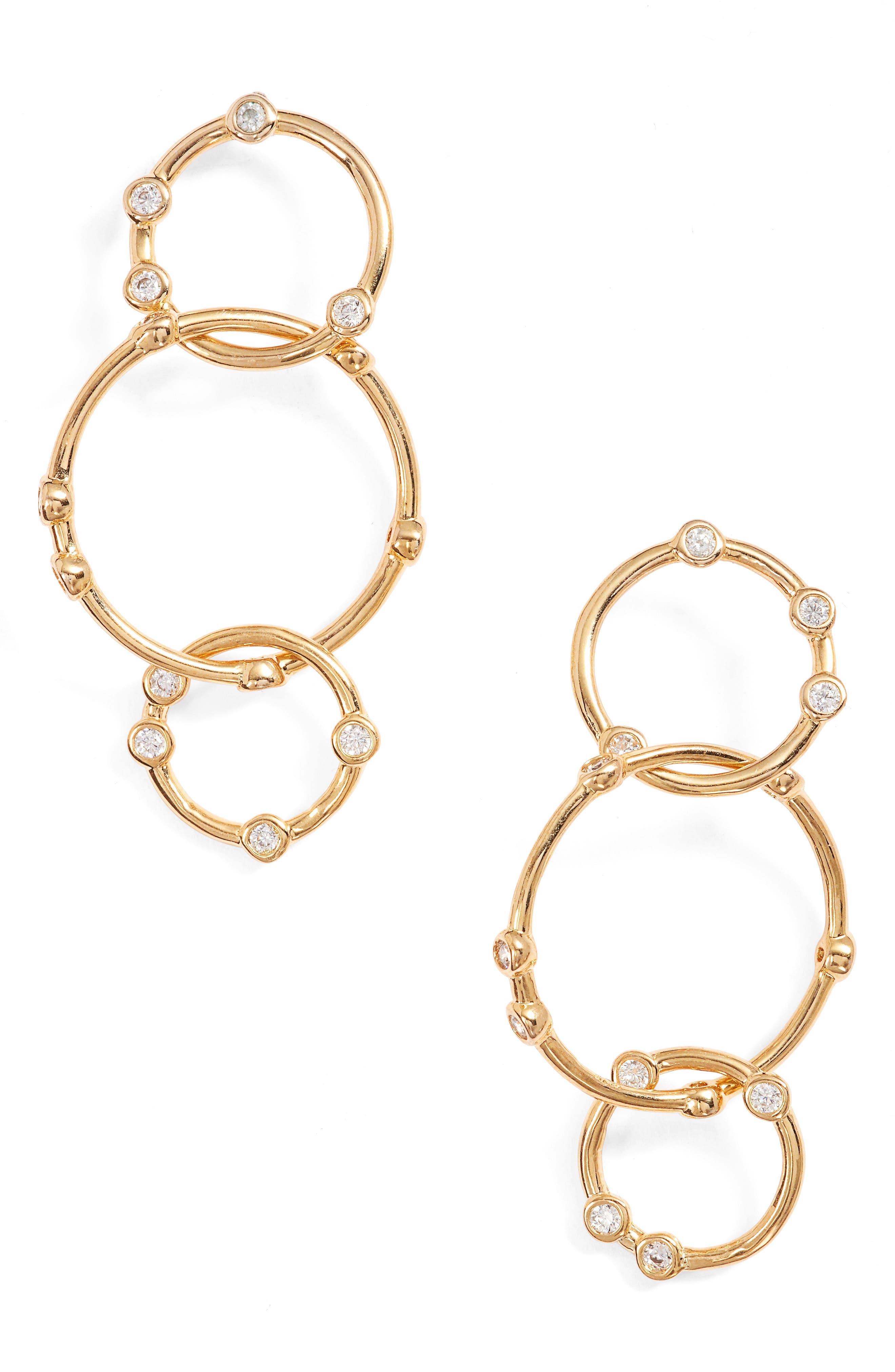 Link Drop Earrings,                         Main,                         color, Gold