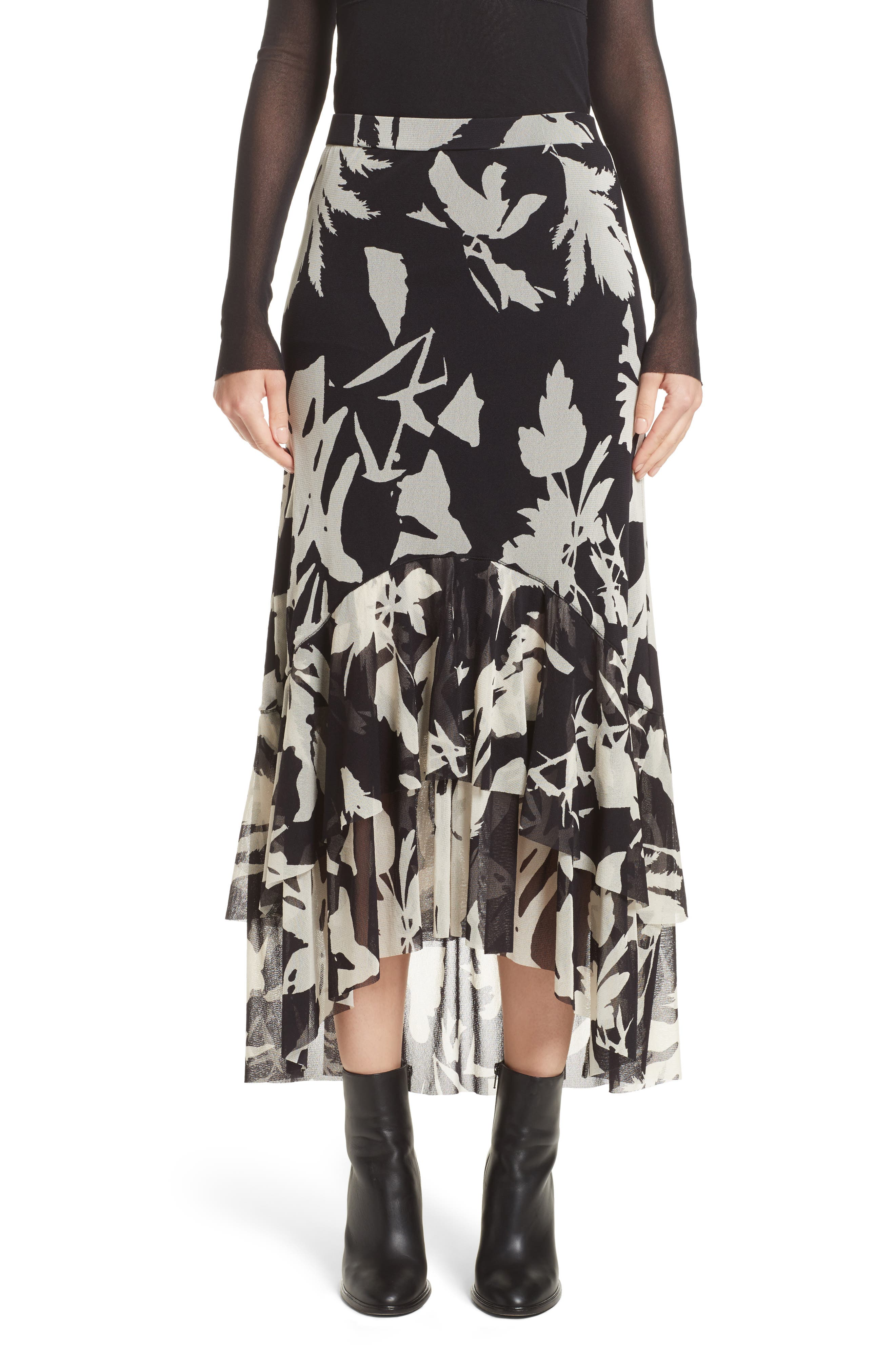Fuzzi Floral Print Tulle Ruffle Skirt