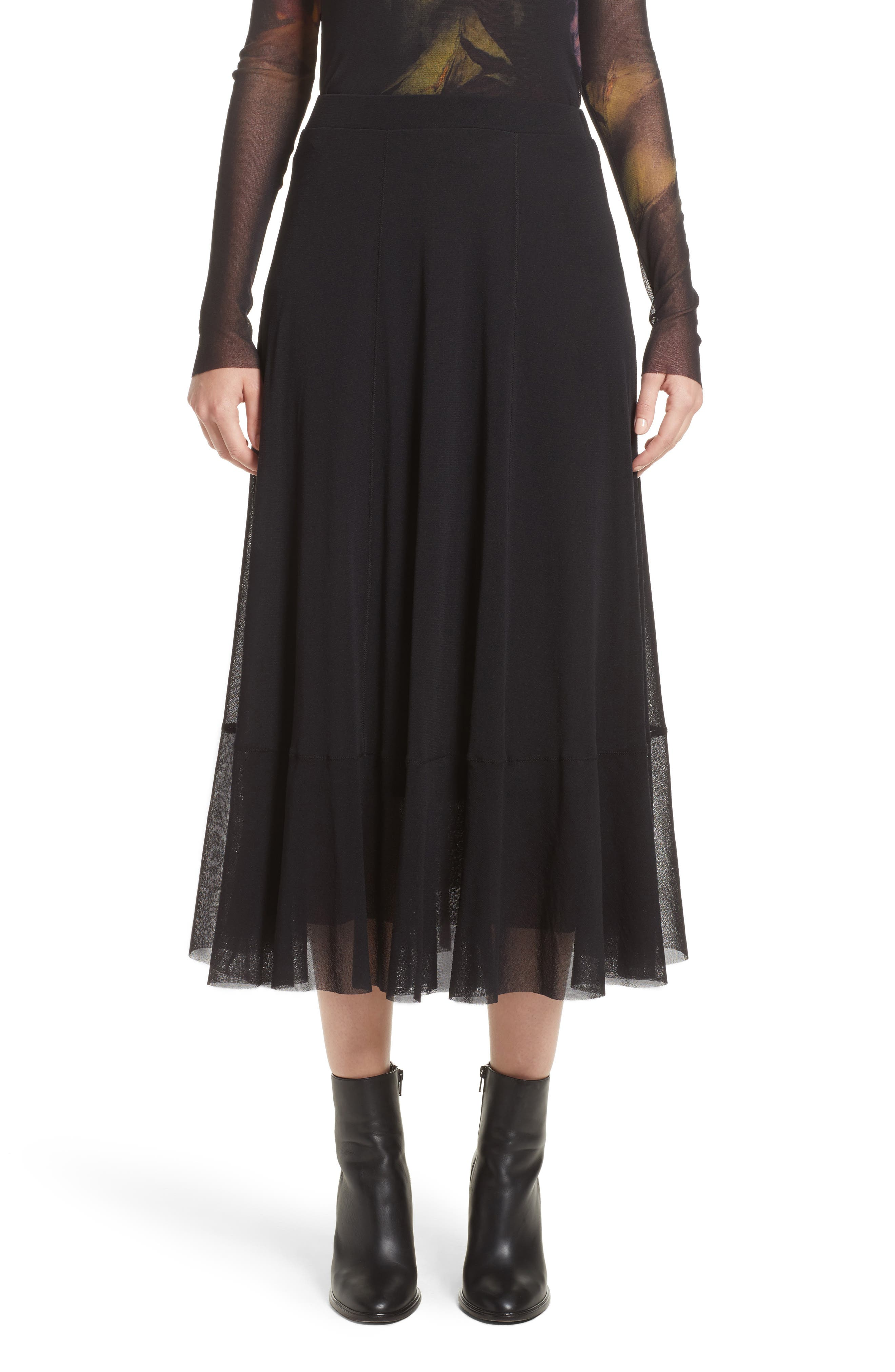 Tulle Midi Skirt,                         Main,                         color, Black
