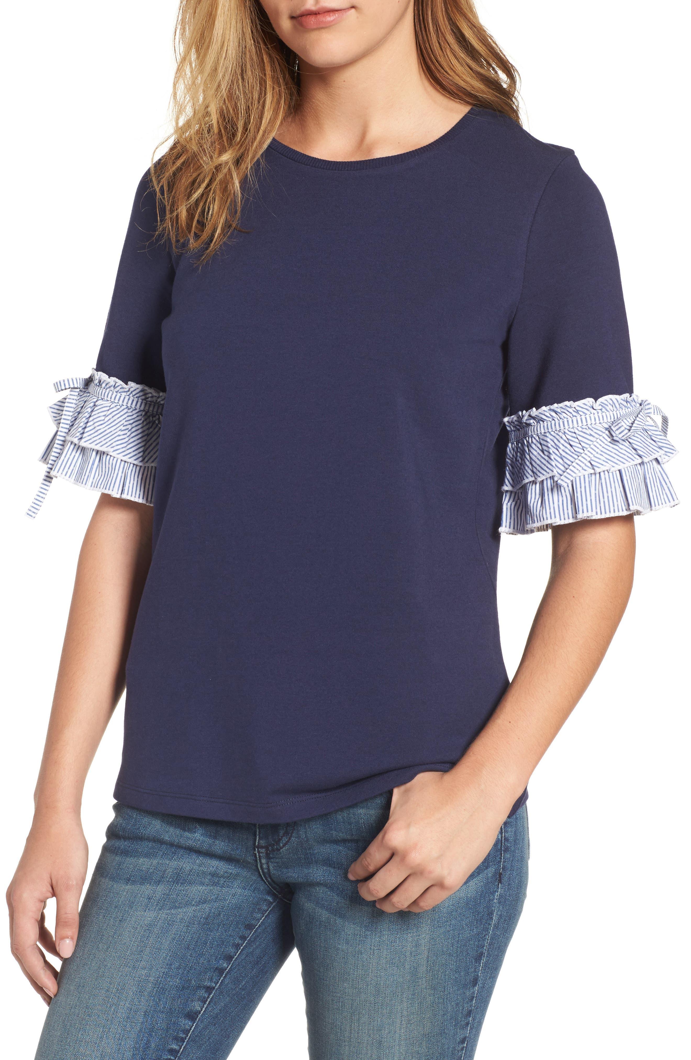 Halogen® Ruffle Sleeve Sweatshirt (Regular & Petite)