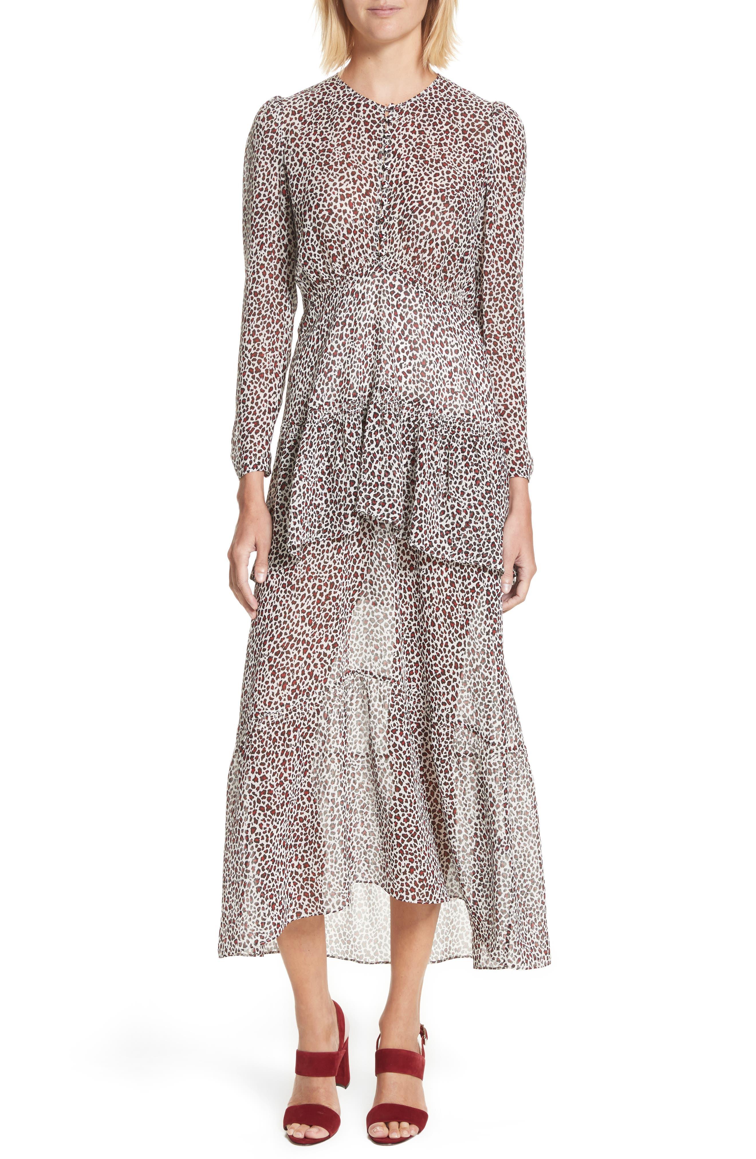 Main Image - A.L.C. Zandra Leopard Print Silk Midi Dress
